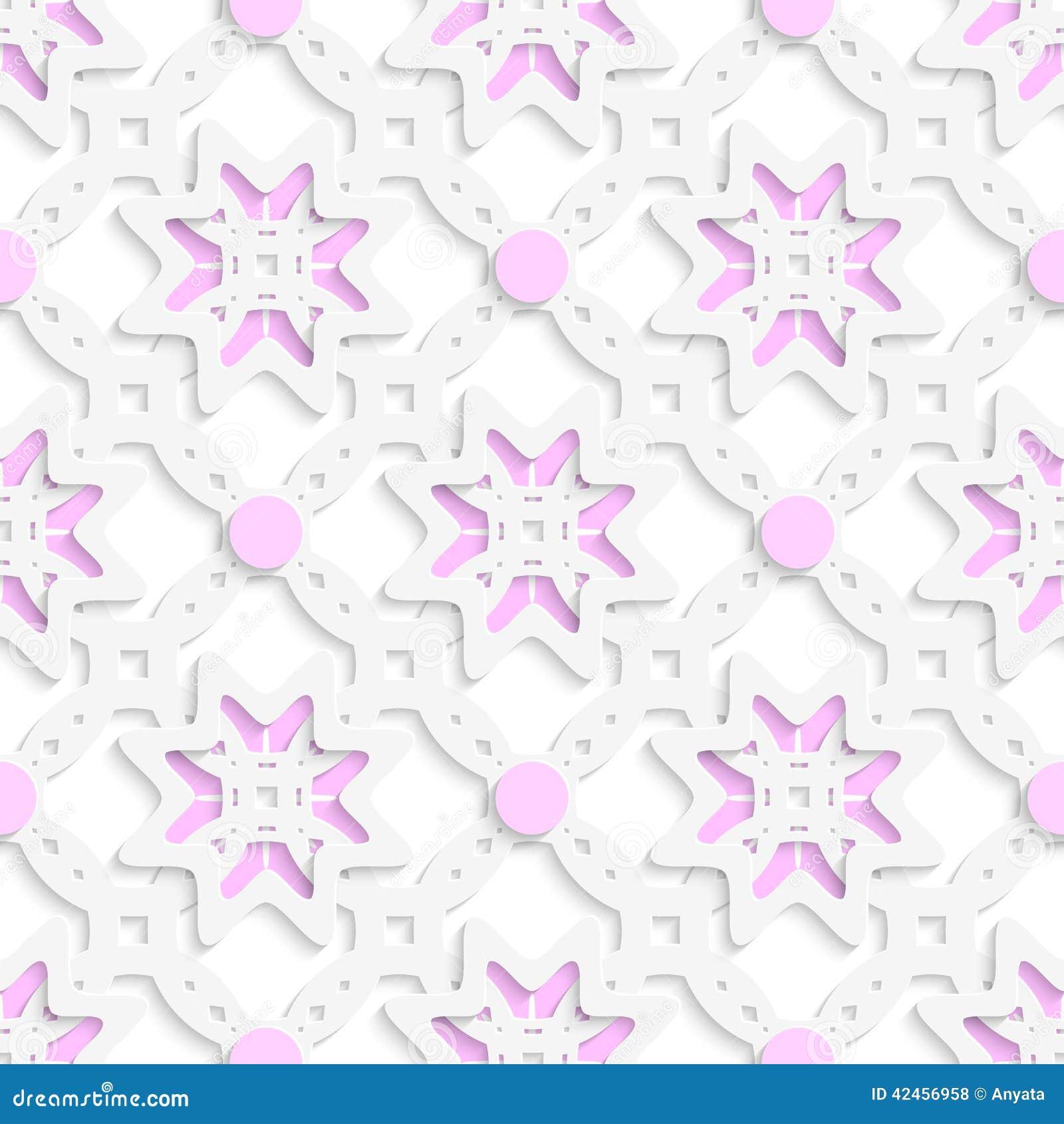 Weiße perforierte Verzierung überlagerte mit den rosa nahtlosen Punkten