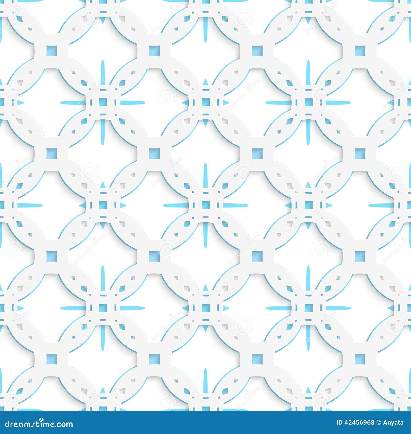 Weiße perforierte Verzierung mit den blauen Schneeflocken nahtlos