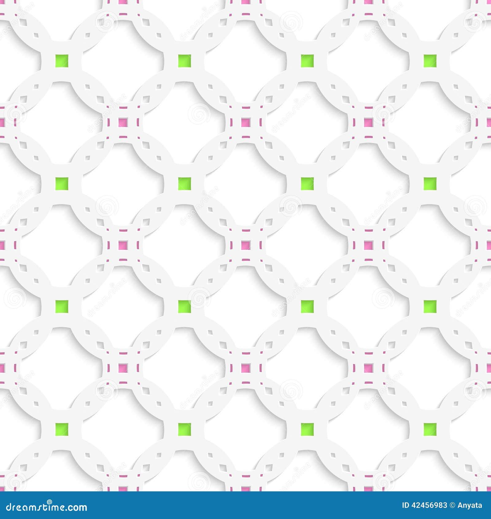 Weiße perforierte Verzierung mit grünem rosa nahtlosem