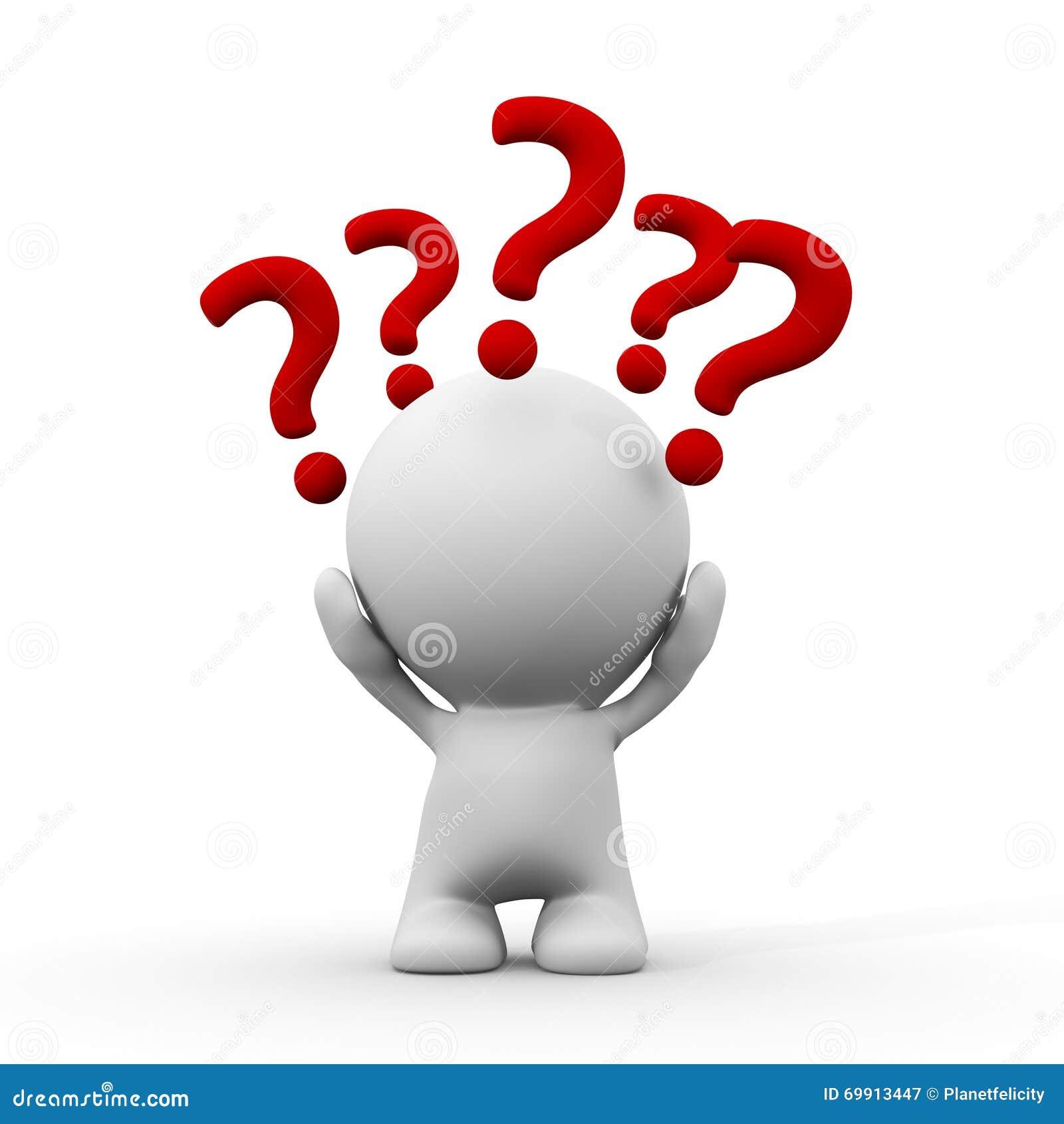 Weiße Person 3d Mit Fragezeichen Um Den Kopf Stock