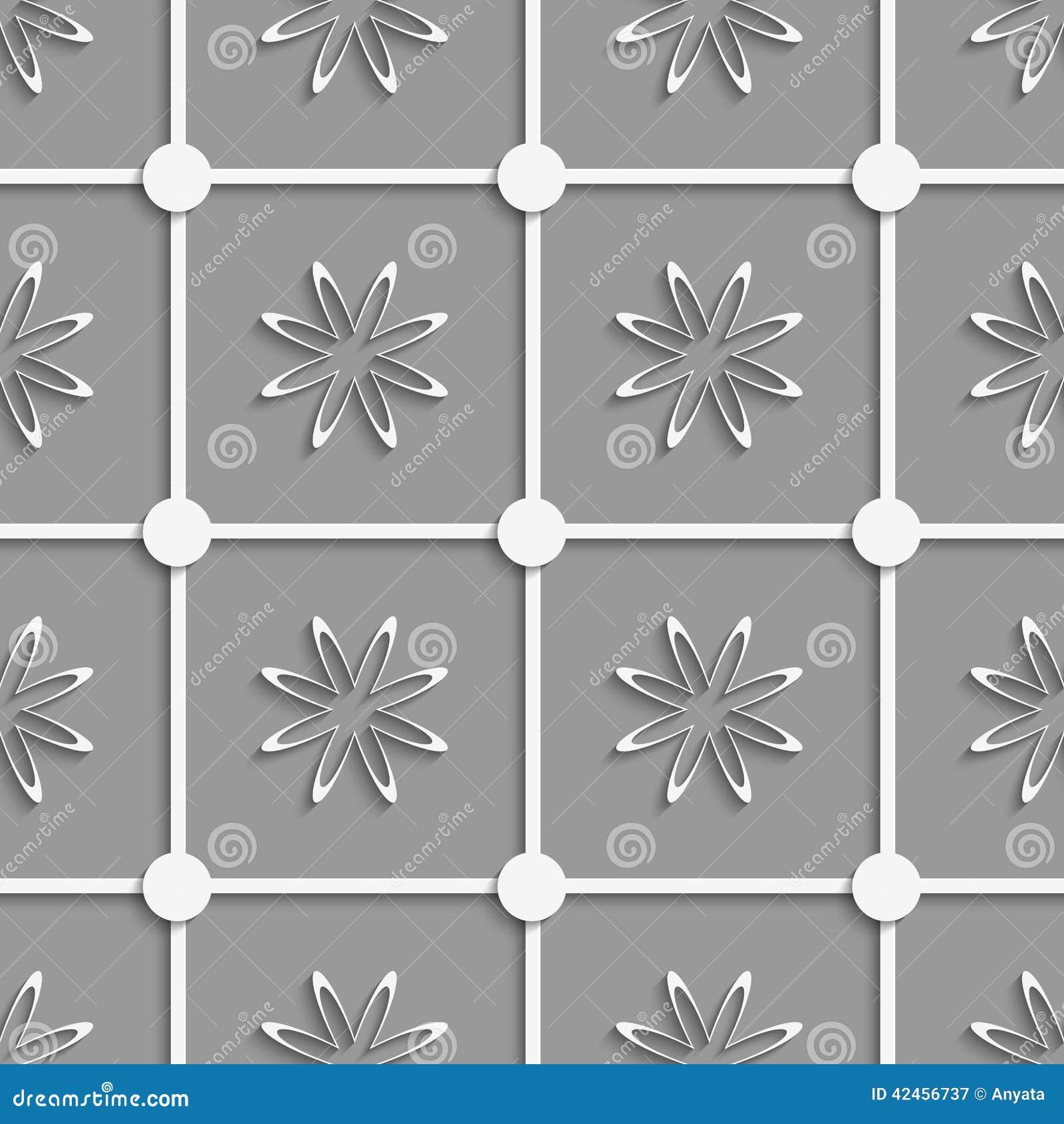 Weiße Punkte und Blumen schnitten O-Papier heraus