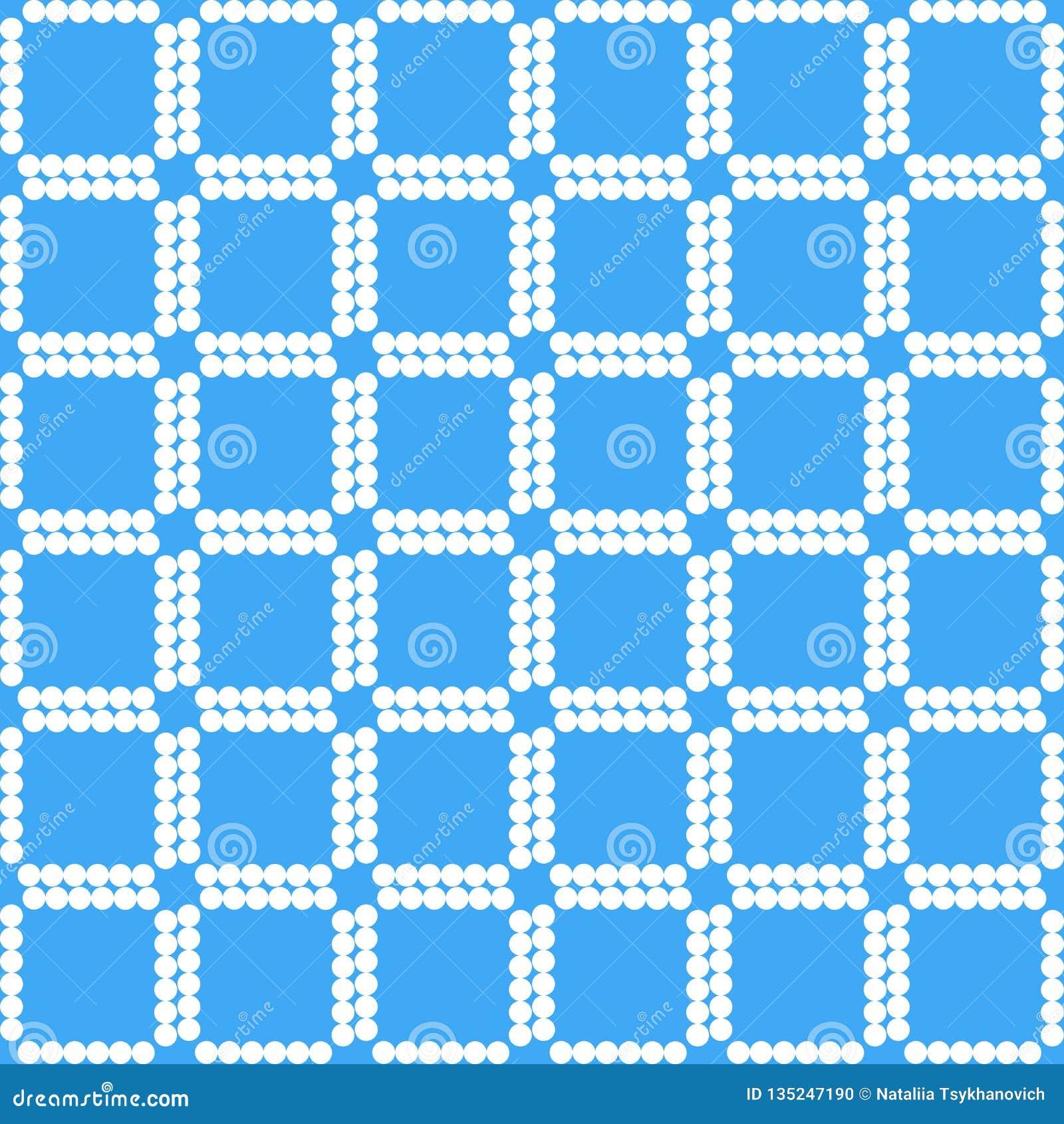 Weiße Quadrate auf geometrischem Muster des blauen Hintergrundes