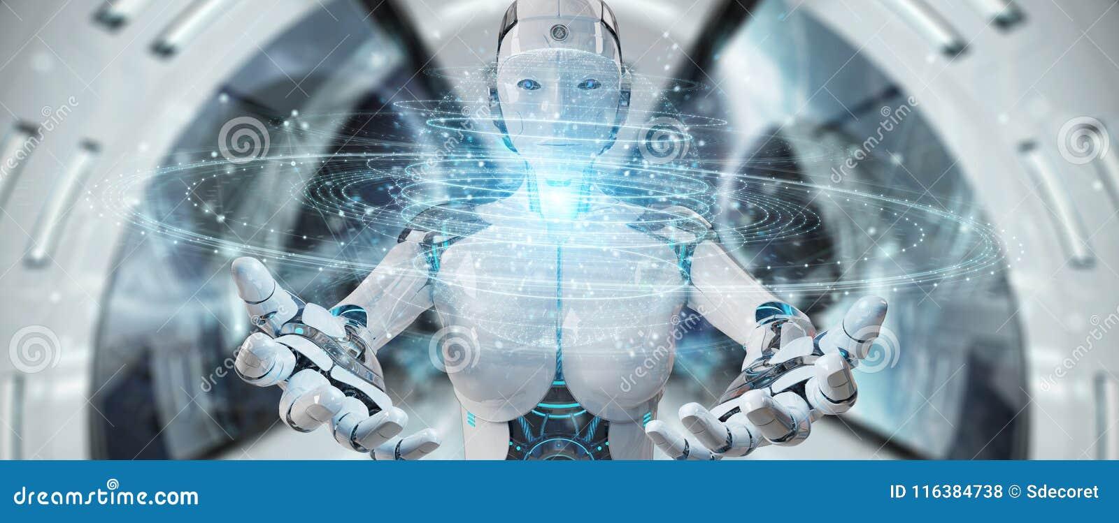Weiße Roboterfrau, die explodierendes hologr Bereich des digitalen Dreiecks verwendet