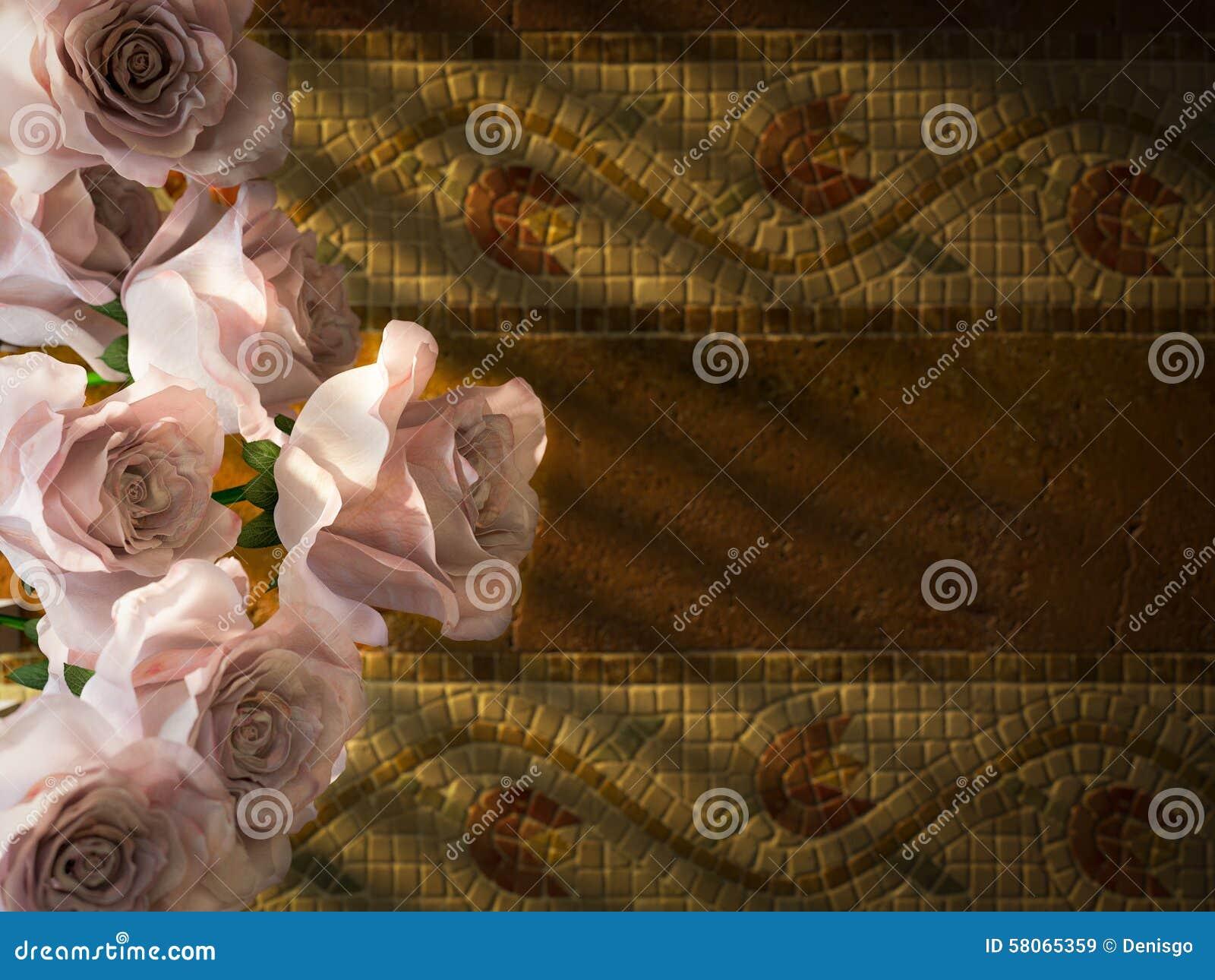 wei e rosen auf dekorativem hintergrund der alten wand stockfoto bild 58065359. Black Bedroom Furniture Sets. Home Design Ideas