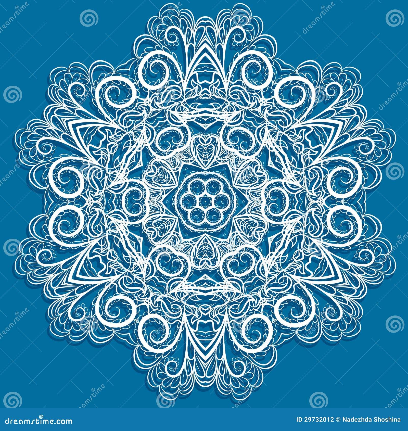 Weiße Schneeflocke Auf Blau Vektor Abbildung - Illustration von ...