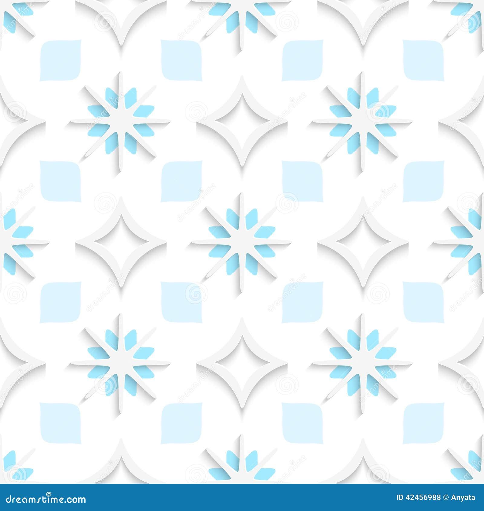 Weiße spitze Rauten mit den blauen und weißen Schneeflocken nahtlos