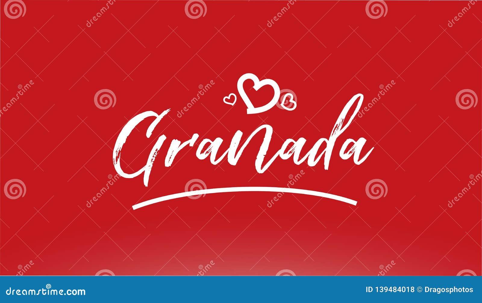 Weiße Stadthandschriftlicher Text Granadas mit Herzlogo auf rotem Hintergrund