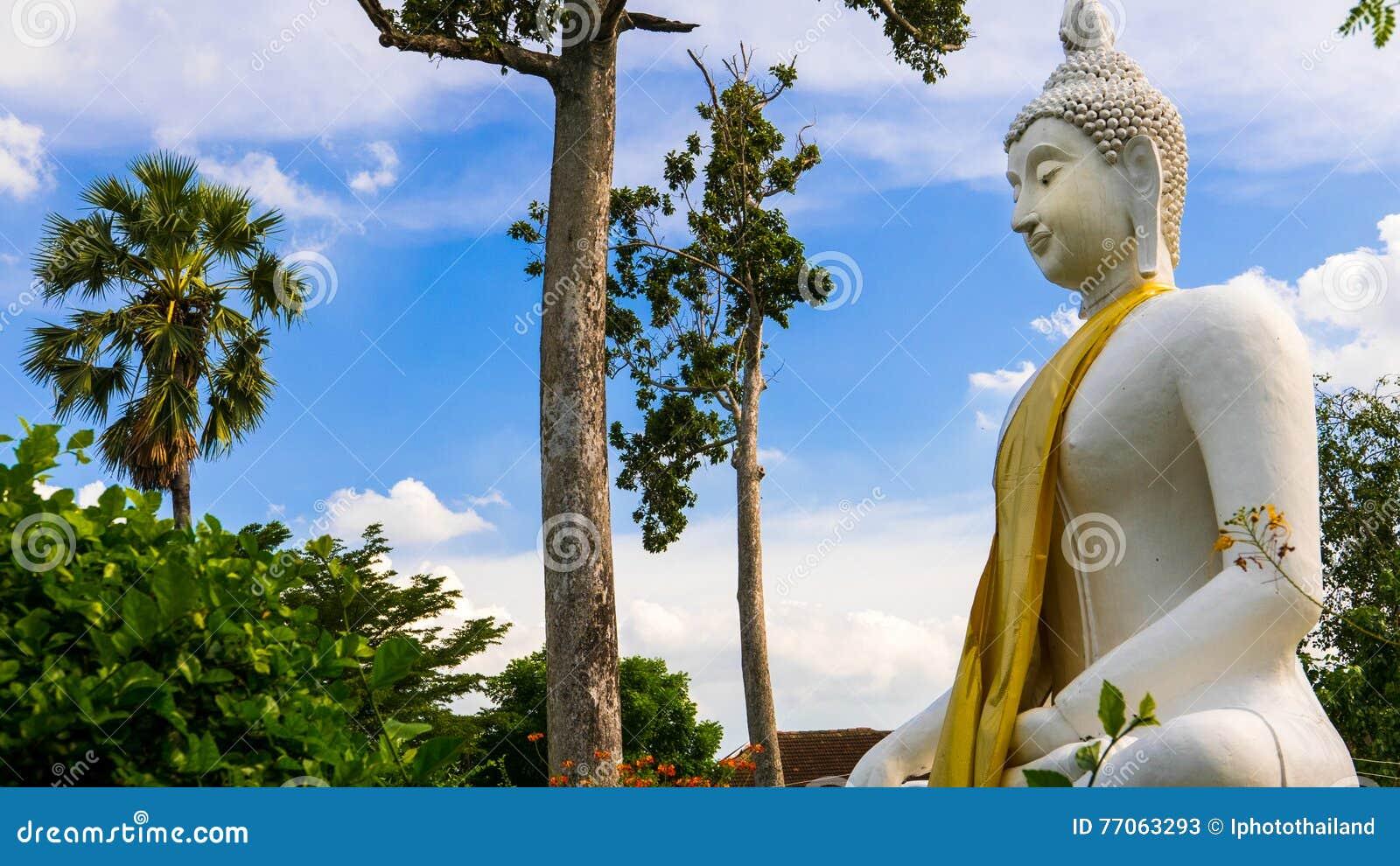 Weiße Statue Buddhas in buddhistischem Tempel Wat Prang Luangs (allgemeiner Tempel) in Nonthaburi, Thailand