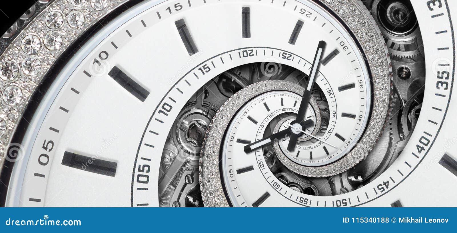 Weiße stilvolle Uhr des modernen Diamanten mit den Uhrhänden und Uhrmechanismus verdrehten sich zur surrealen Spirale Zeitspirale