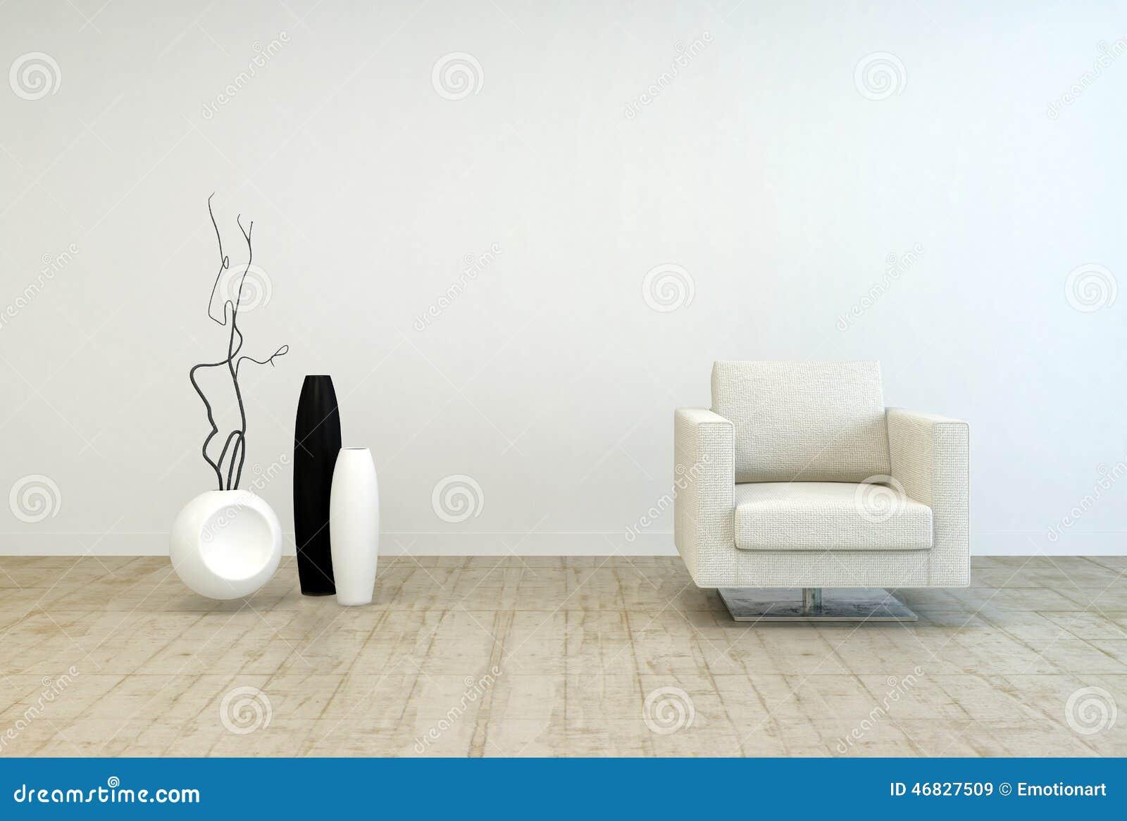 Weiße Stuhl-und Vasen-Dekors Am Wohnzimmer Stock Abbildung ...