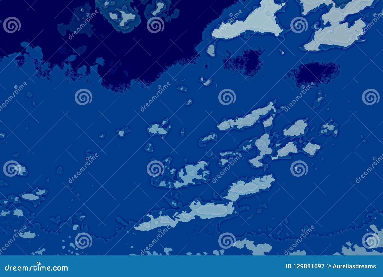 Weiße und blaue abstrakte Hintergrundbeschaffenheit Fantasiekarte mit Nordküstenlinie, Meer, Ozean, Eis, Berge, Wolken