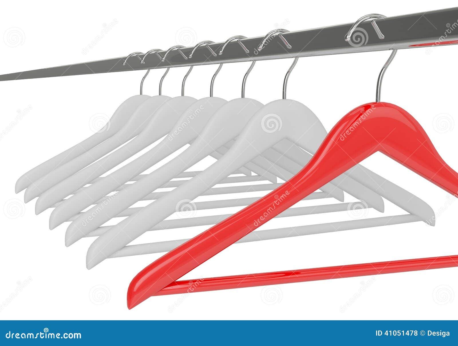 Weiße Und Rote Kleiderbügel Lokalisiert Stock Abbildung ...