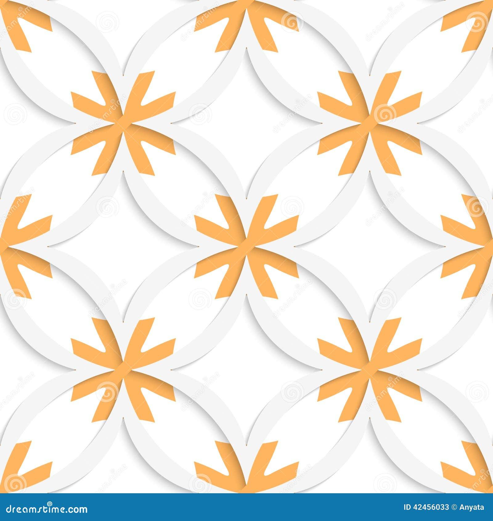 Weiße vertikale spitze Quadrate mit der Orangenüberlagerung nahtlos