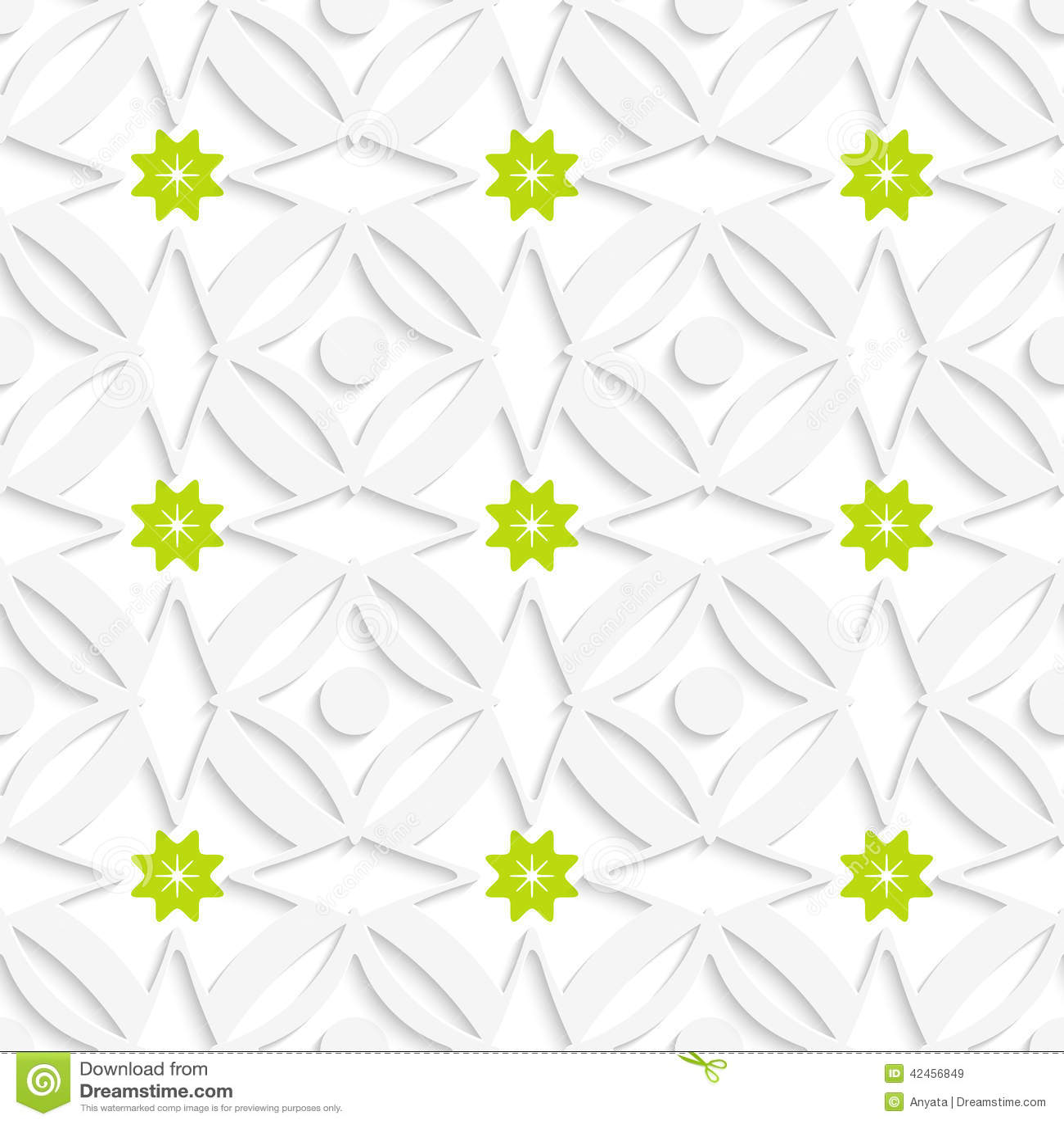 Weiße Verzierung und grüne Blumen