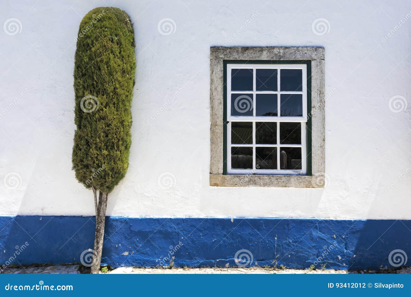 Weisse Wand Mit Blauem Streifen Fenster Und Baum Stockfoto Bild