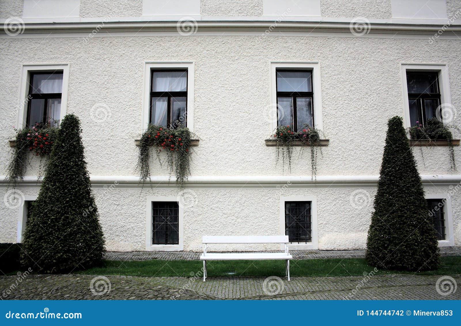 Weiße Wand mit vier langen Fenstern und Anlagen, zwei Konus-förmige Büsche und eine weiße Bank
