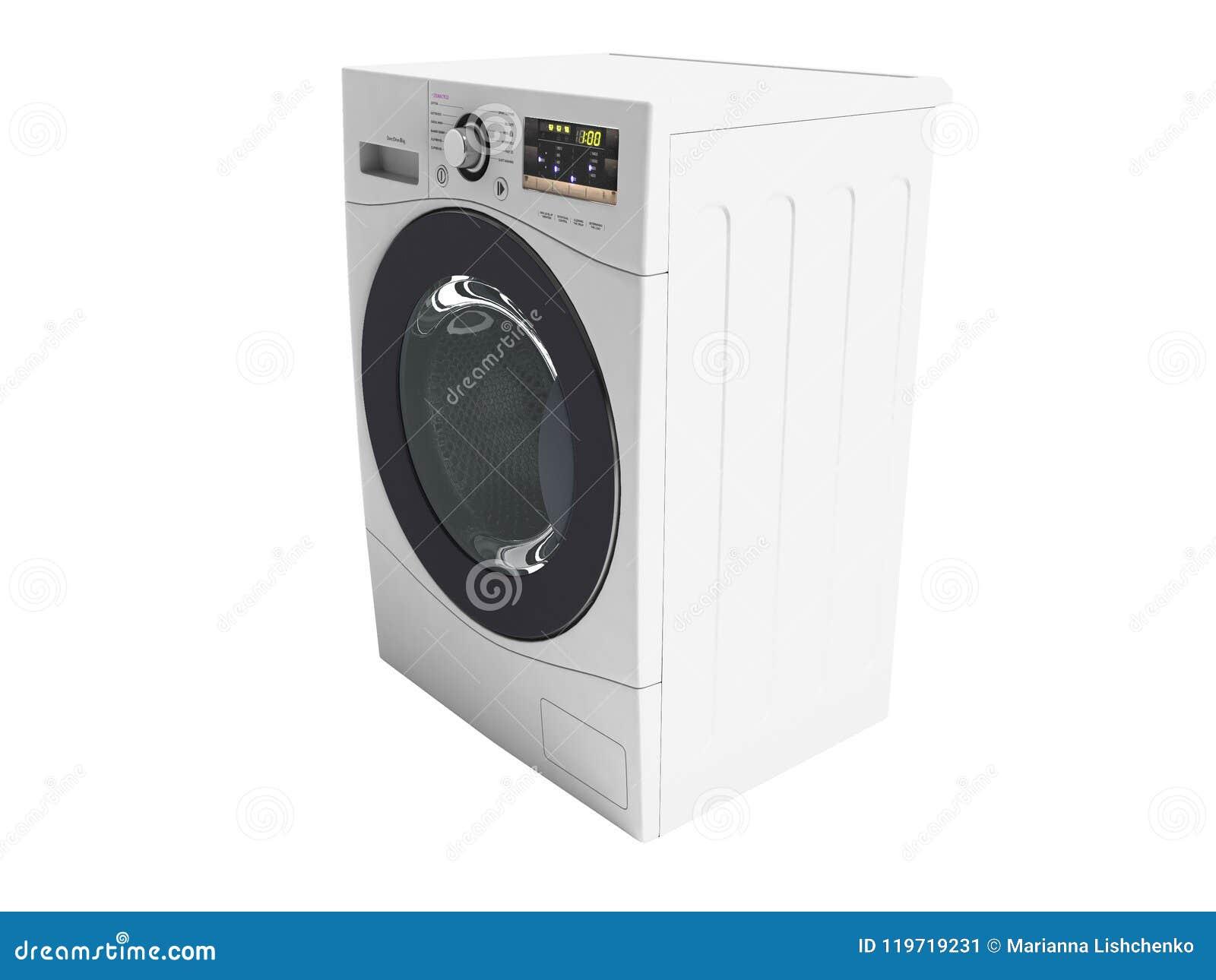 Weiße Waschmaschine für das Waschen im Haus 3d übertragen auf Whit