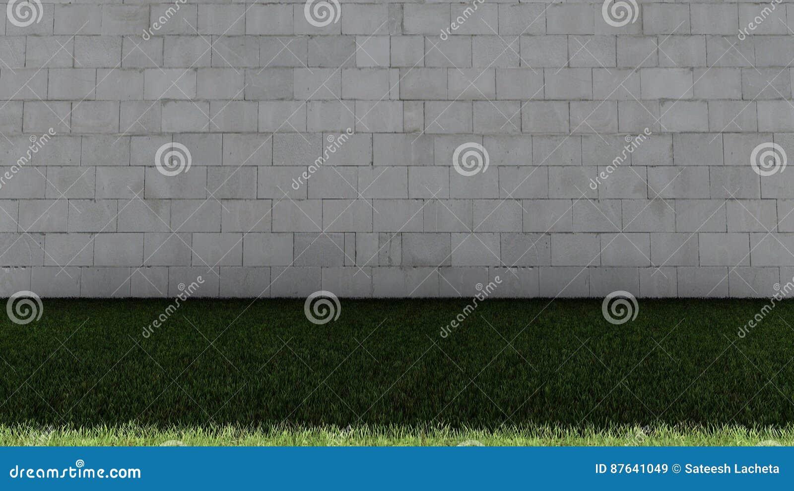 Weiße Ziegelstein-Wand-und grünes Gras-Boden