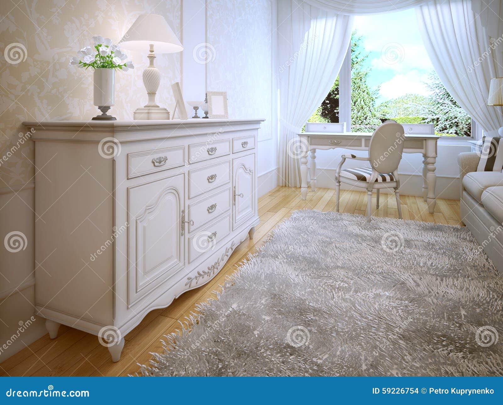 Weißer Aufbereiter Im Klassischen Schlafzimmer Stock ...