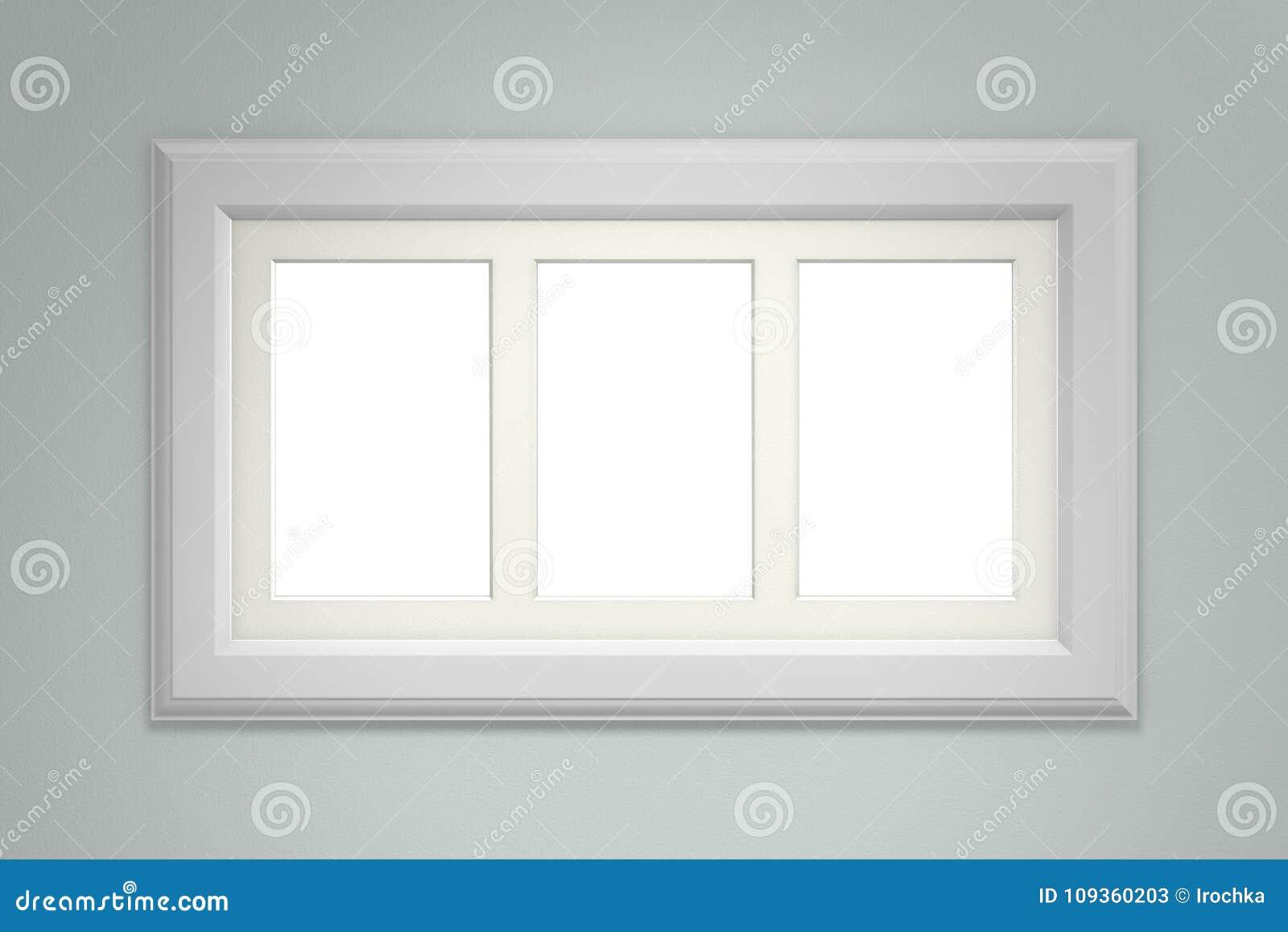 Weißer Bilderrahmen Auf Grauer Wand Stock Abbildung - Illustration ...