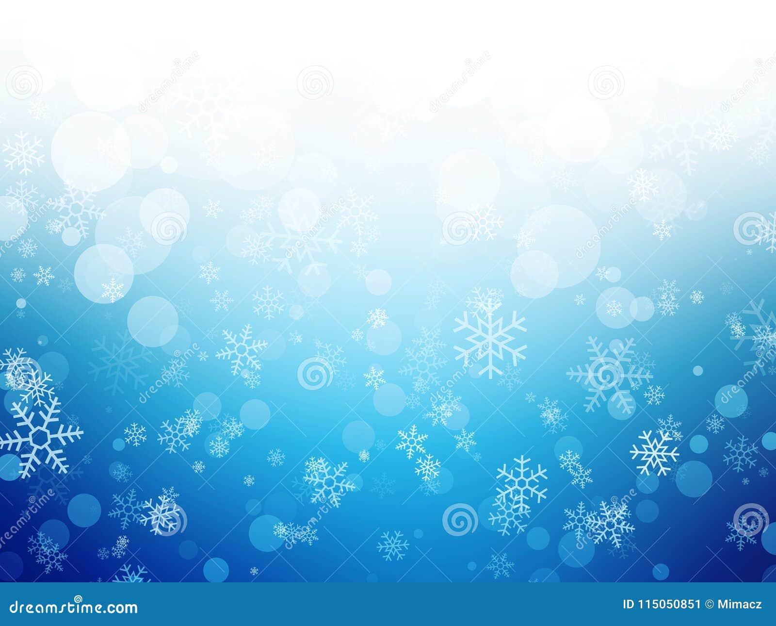 Weißer blauer Winter Weihnachtshintergrund mit Schneeflocken