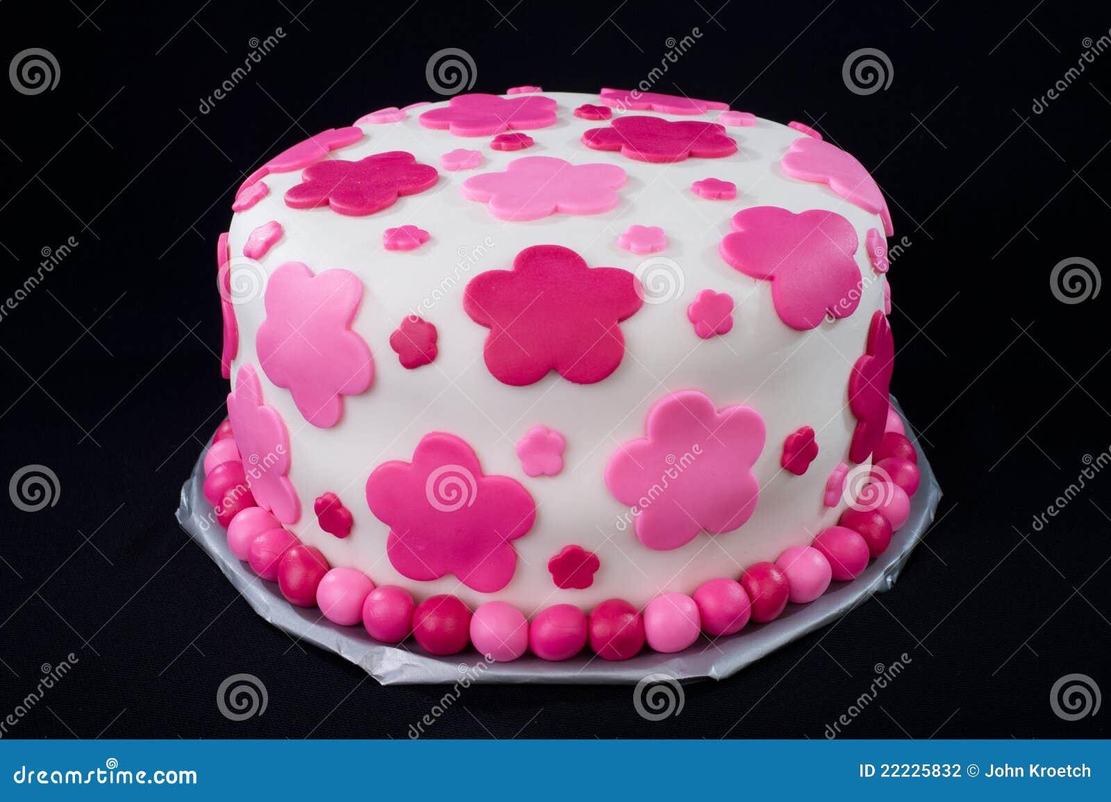 Weisser Fondant Kuchen Mit Rosafarbenen Blumen Stockfoto Bild Von