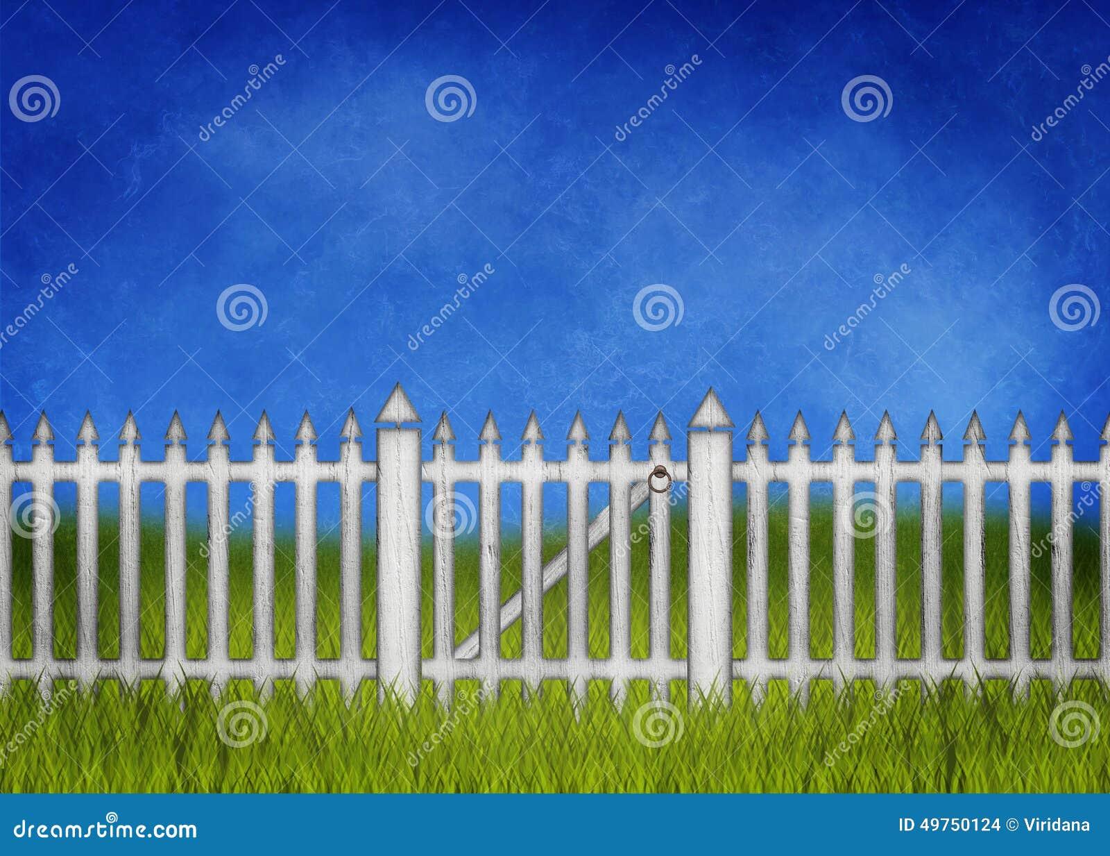 Weißer Gartenzaun Und tor Stock Abbildung Bild