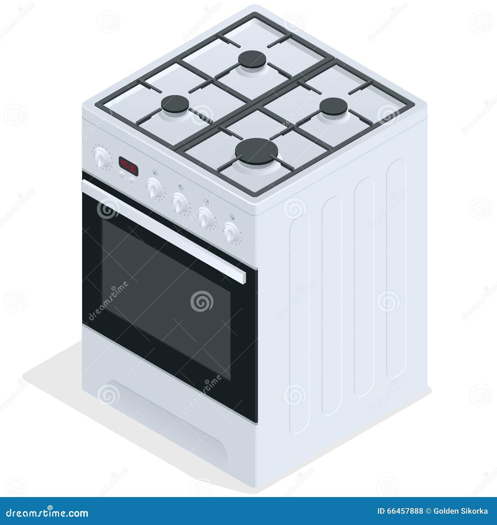 Weißer Gasofen Freier stehender Kocher Flache isometrische Illustration des Vektors 3d