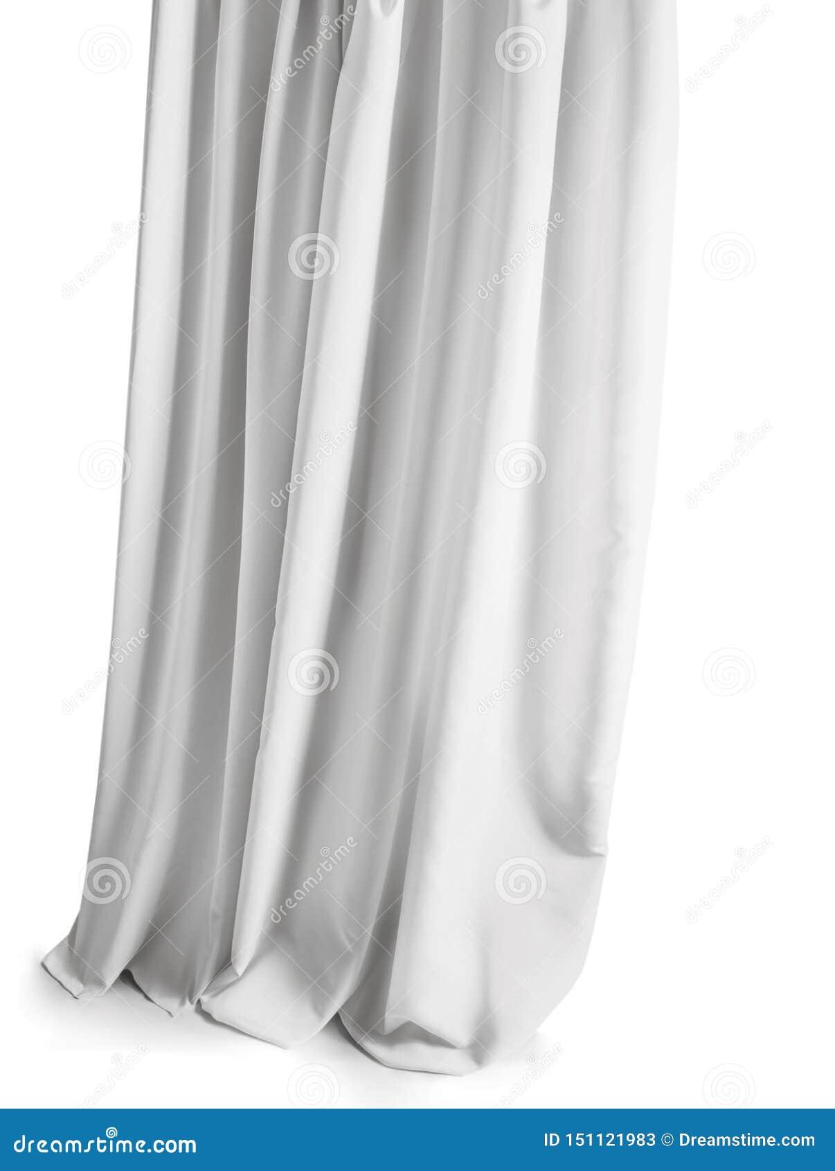 Weißer grauer Vorhang lokalisiert auf einem weißen Hintergrund