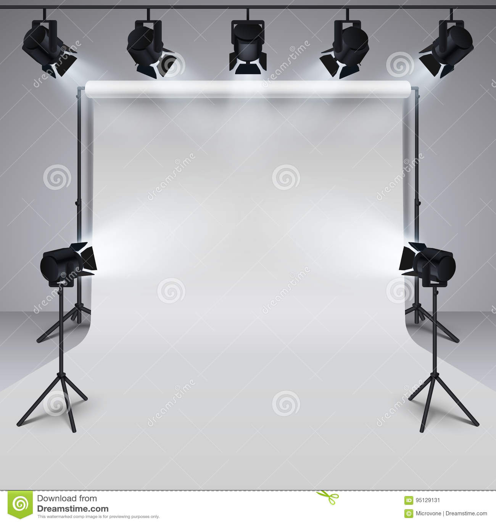 Weißer leerer Hintergrund der lichttechnischen Ausrüstung und des Berufsphotographiestudios Abbildung des Vektor 3d