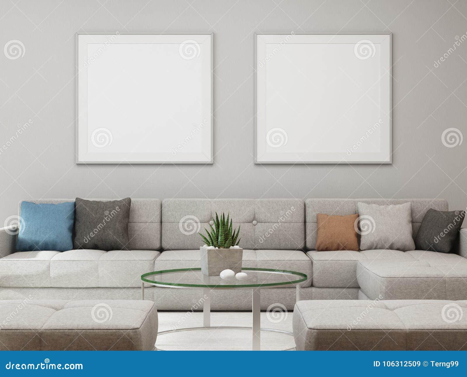 Weißer Leerer Rahmenspott Oben Auf Betonmauerhintergrund Sofa Und