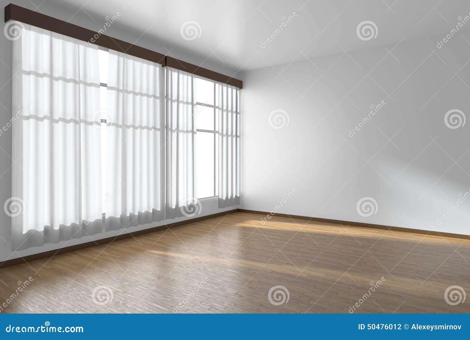 wei er leerer raum mit flachen w nden parkettboden stock abbildung bild 50476012. Black Bedroom Furniture Sets. Home Design Ideas