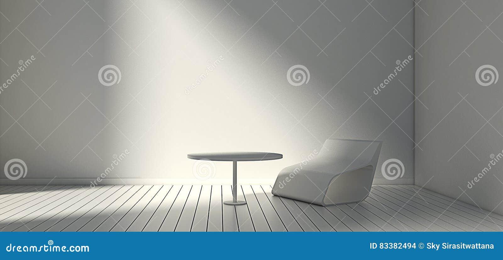Weißer Moderner Stuhl Und Wand Im Einfachen Wohnzimmer 3d Oder ...