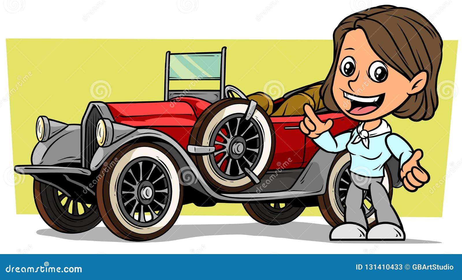 Weißer netter flacher lächelnder brunette Mädchencharakter der Karikatur mit rotem konvertierbarem Luxusauto der Retro- Weinlese