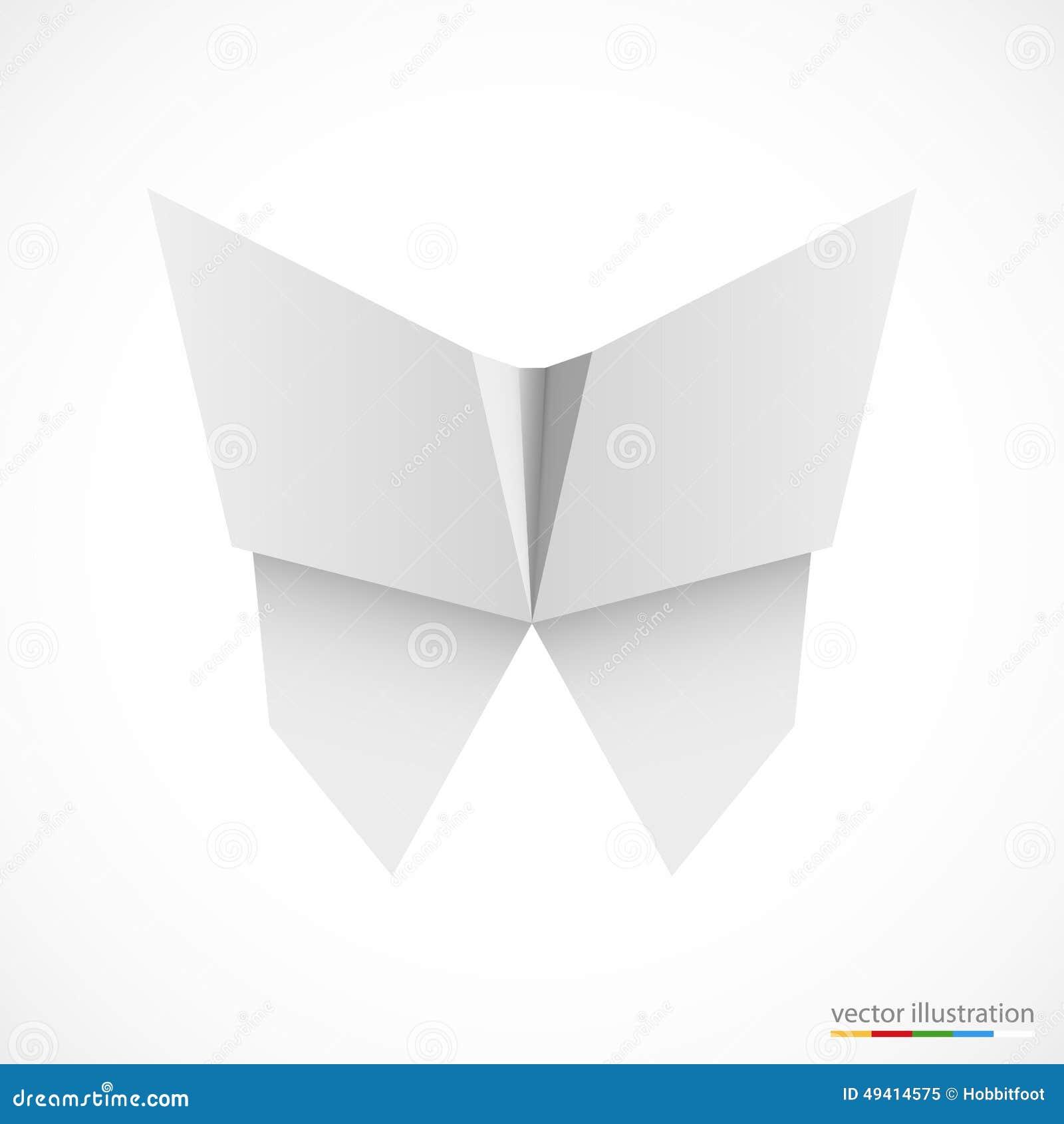 Download Weißer Origamischmetterling Auf Weiß Vektor Vektor Abbildung - Illustration von papier, dekor: 49414575
