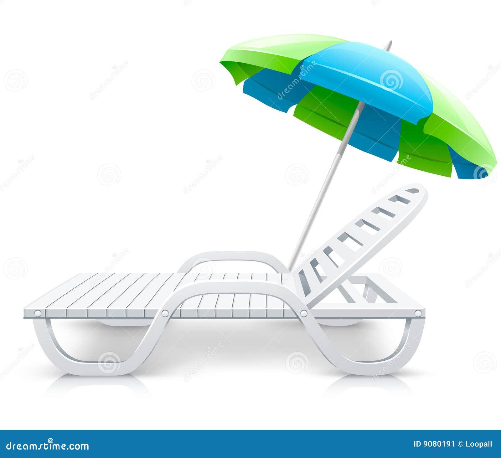 Weißer Plattformstuhl mit Regenschirmstrandinhalt