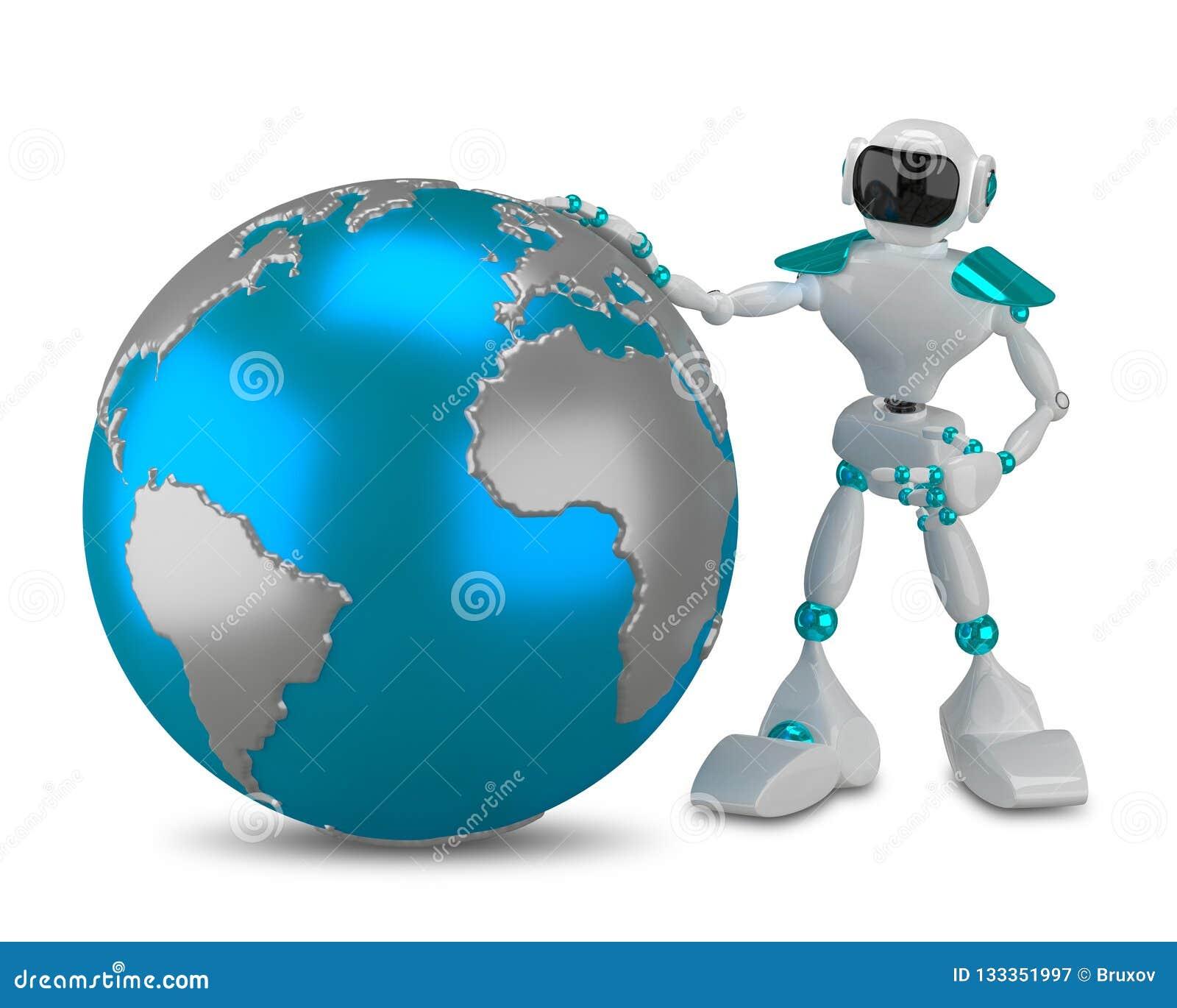 Weißer Roboter der Illustrations-3D mit Kugel