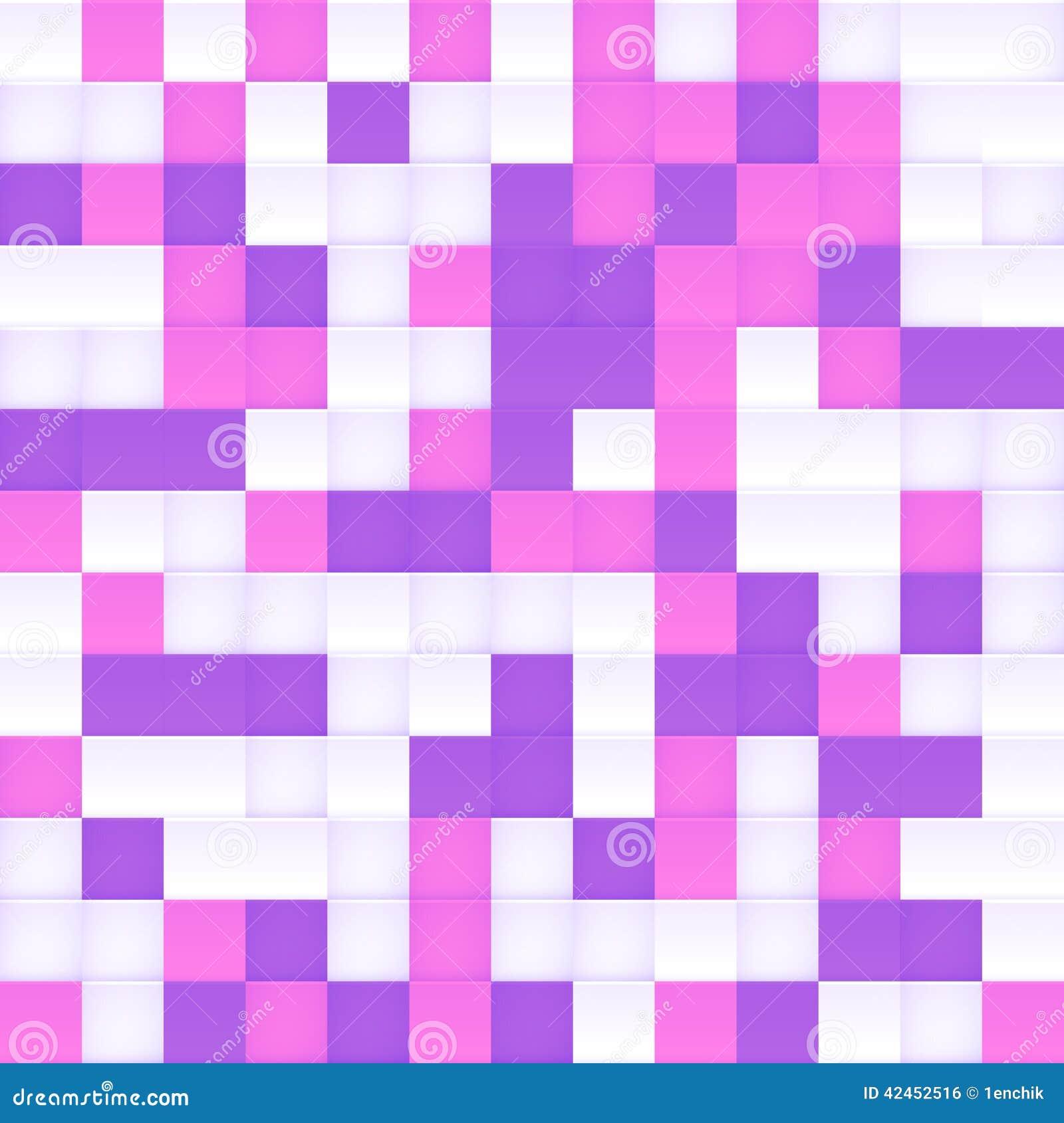 Weißer, rosa und purpurroter Vektor quadrierte Mosaik
