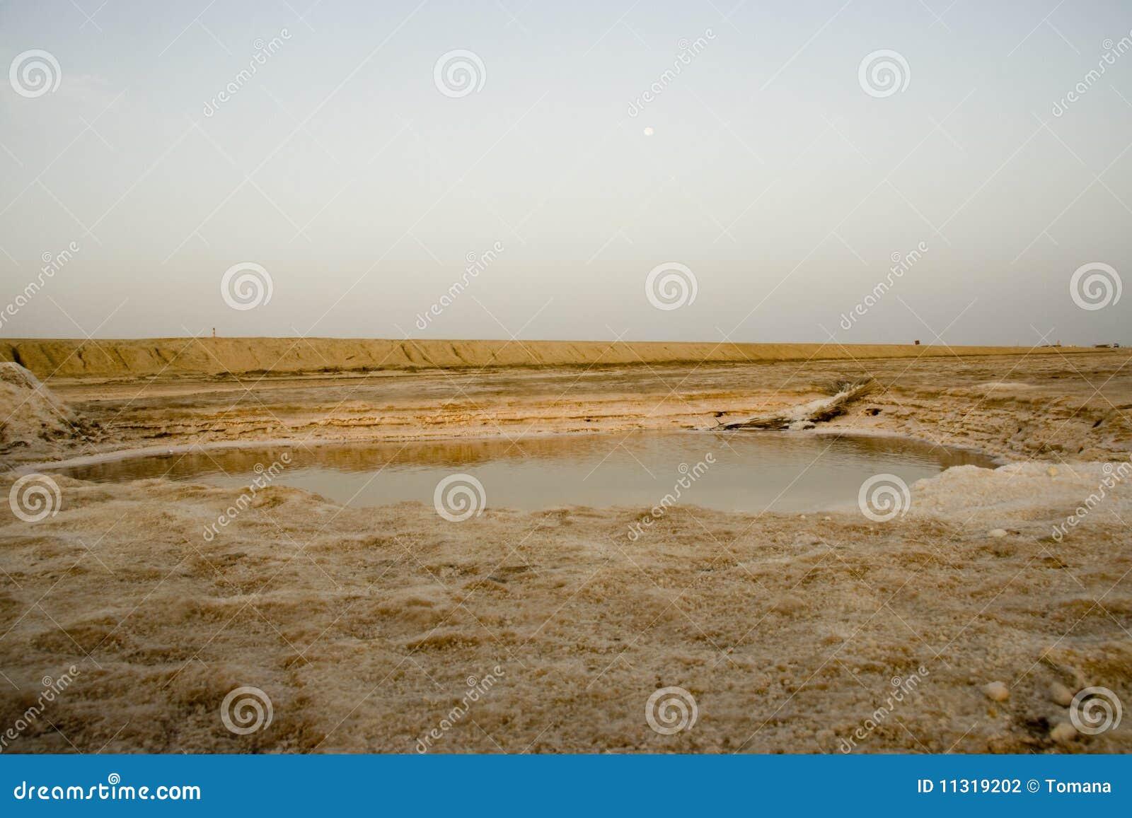 Weißer Salzsee in der Wüste