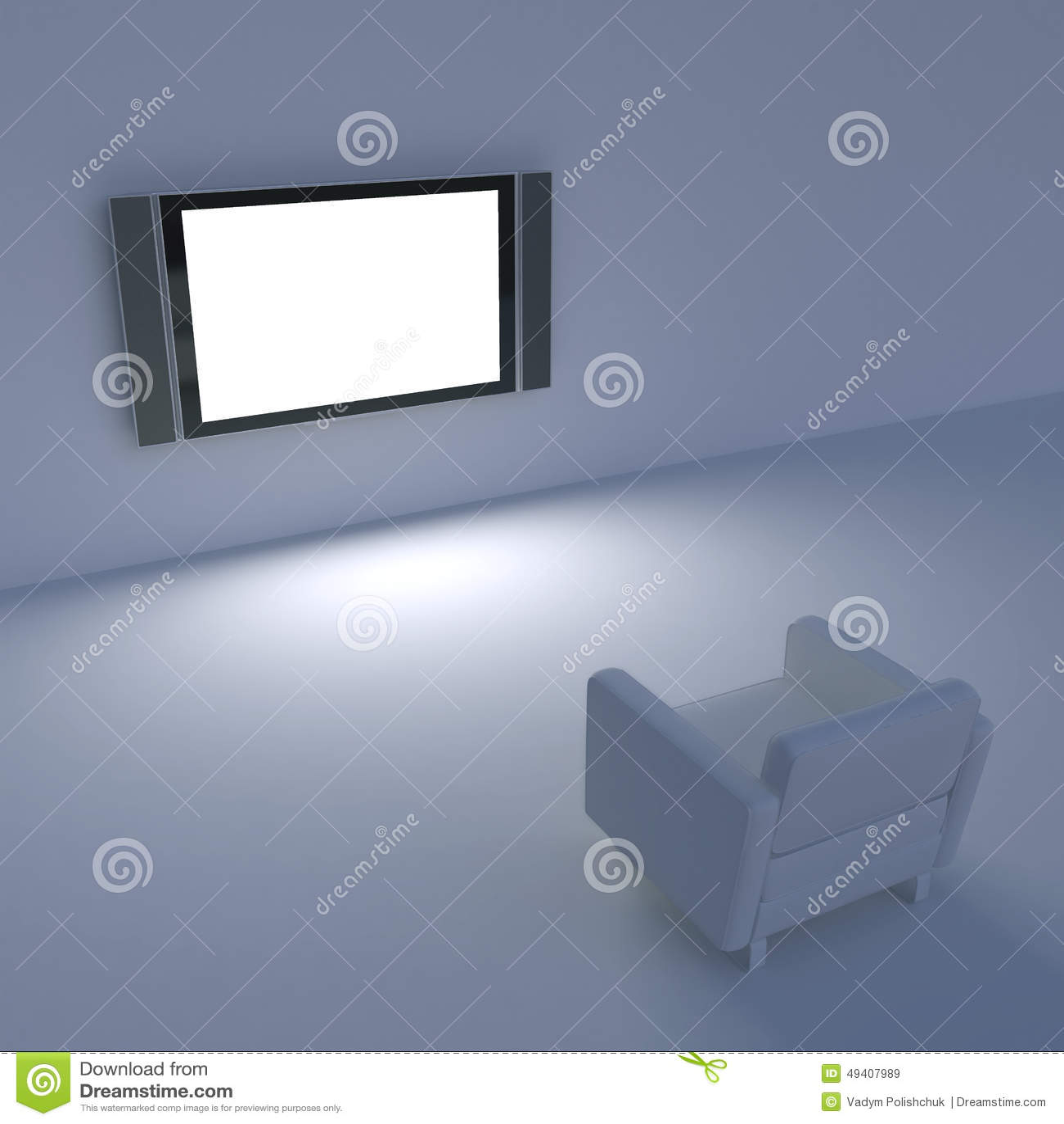 Download Weißer Stuhl Mit Fernsehen Auf Der Wand Stock Abbildung - Illustration von konzept, bild: 49407989
