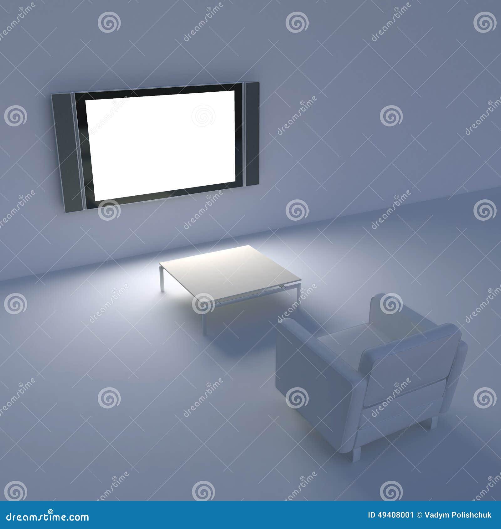 Download Weißer Stuhl Mit Fernsehen Auf Der Wand Stock Abbildung - Illustration von bequem, zuhause: 49408001