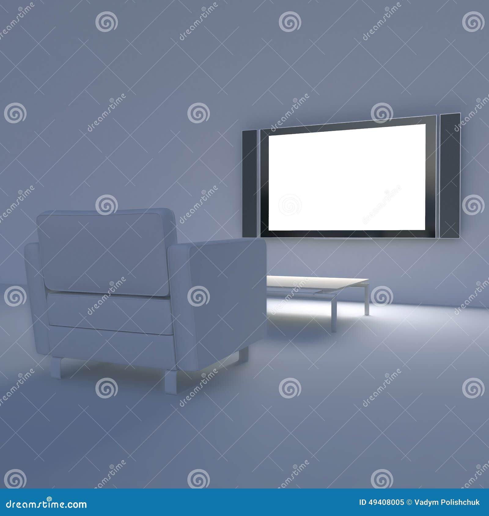 Download Weißer Stuhl Mit Fernsehen Auf Der Wand Stock Abbildung - Illustration von bild, bequem: 49408005