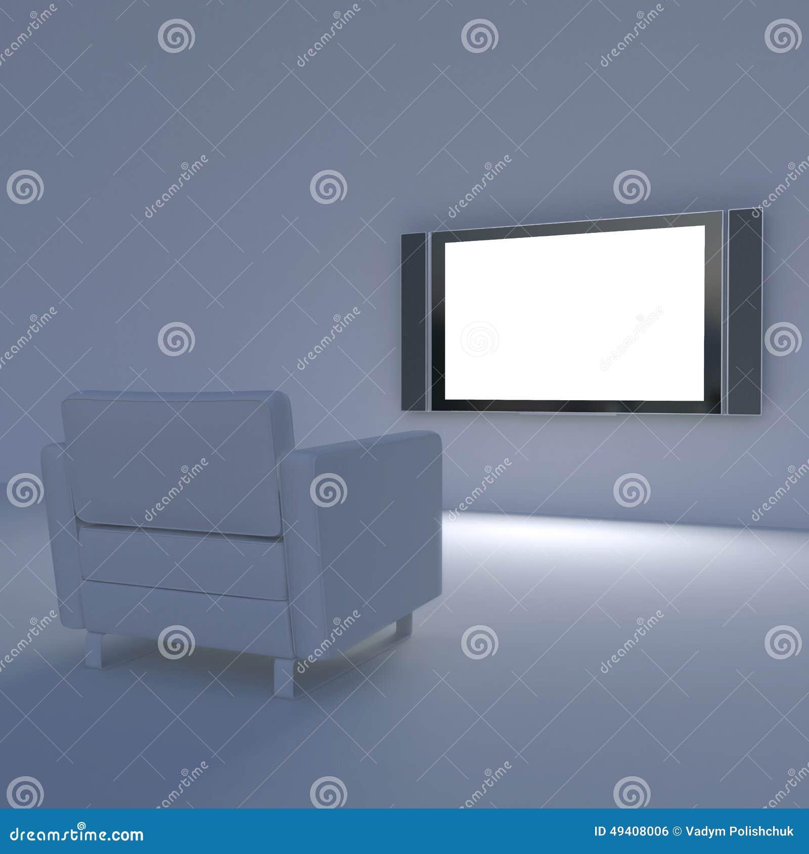 Download Weißer Stuhl Mit Fernsehen Auf Der Wand Stock Abbildung - Illustration von couch, hintergrund: 49408006