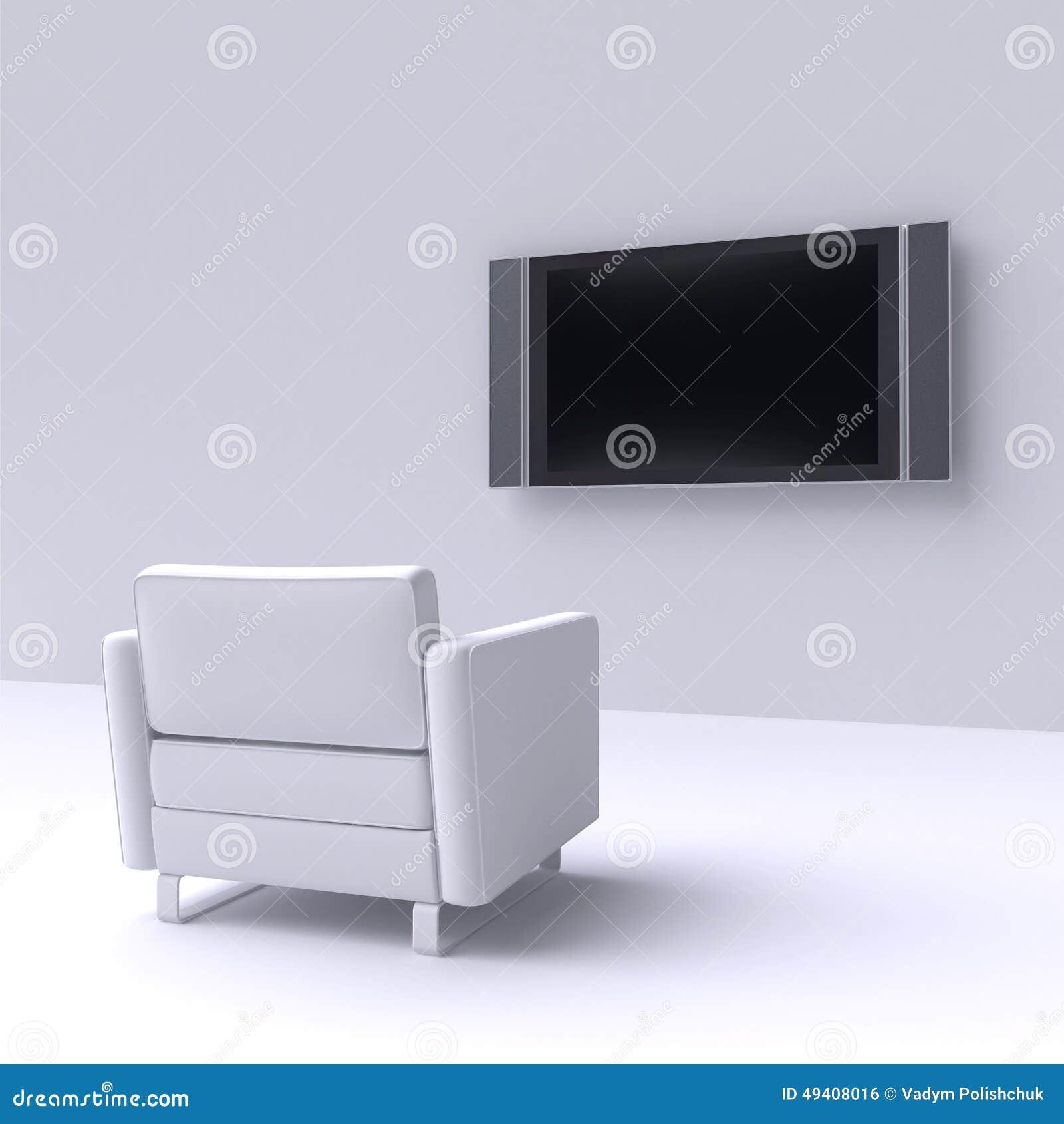 Download Weißer Stuhl Mit Fernsehen Auf Der Wand Stock Abbildung - Illustration von geführt, karikatur: 49408016