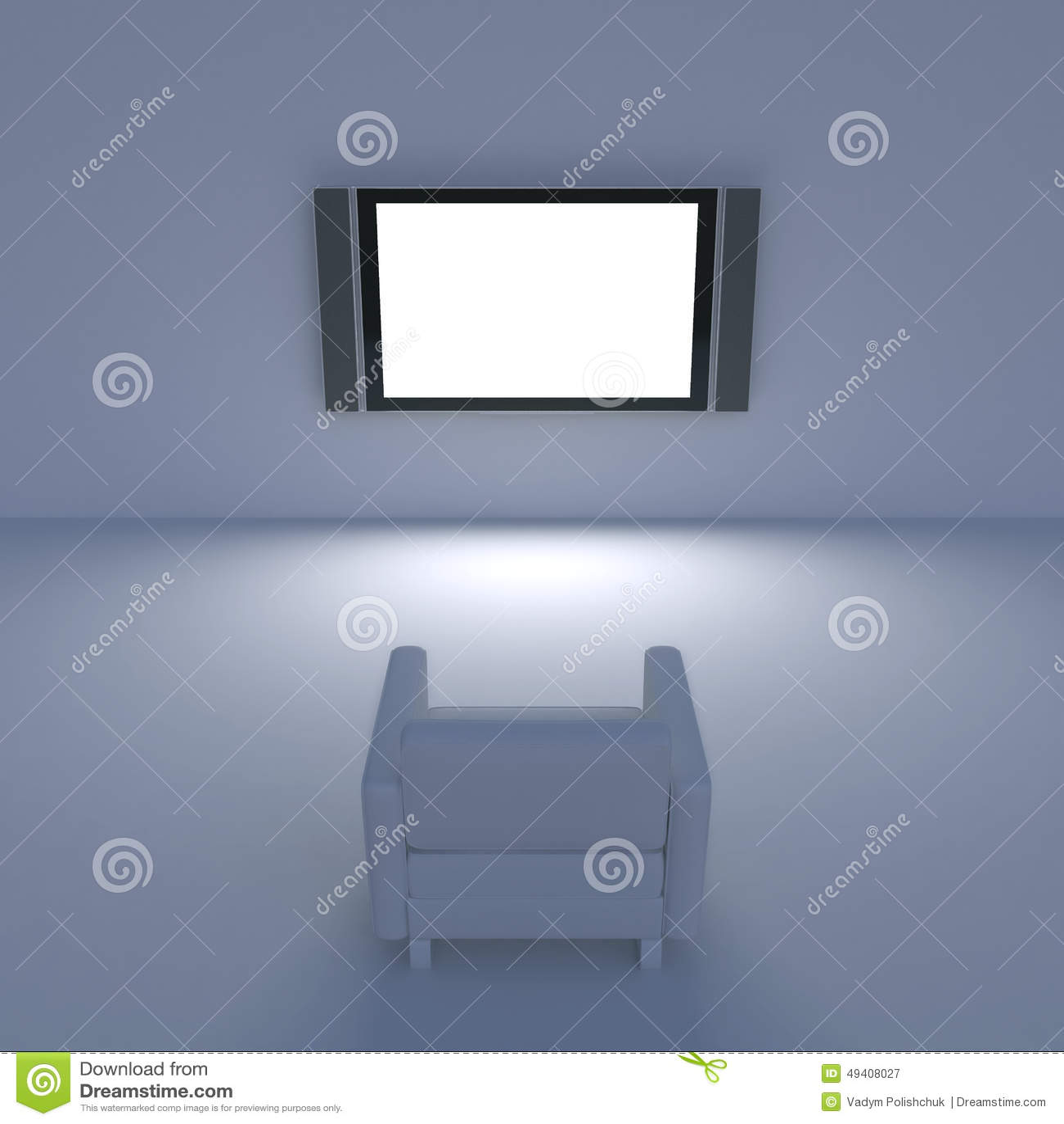 Download Weißer Stuhl Mit Fernsehen Auf Der Wand Stock Abbildung - Illustration von möbel, schauen: 49408027