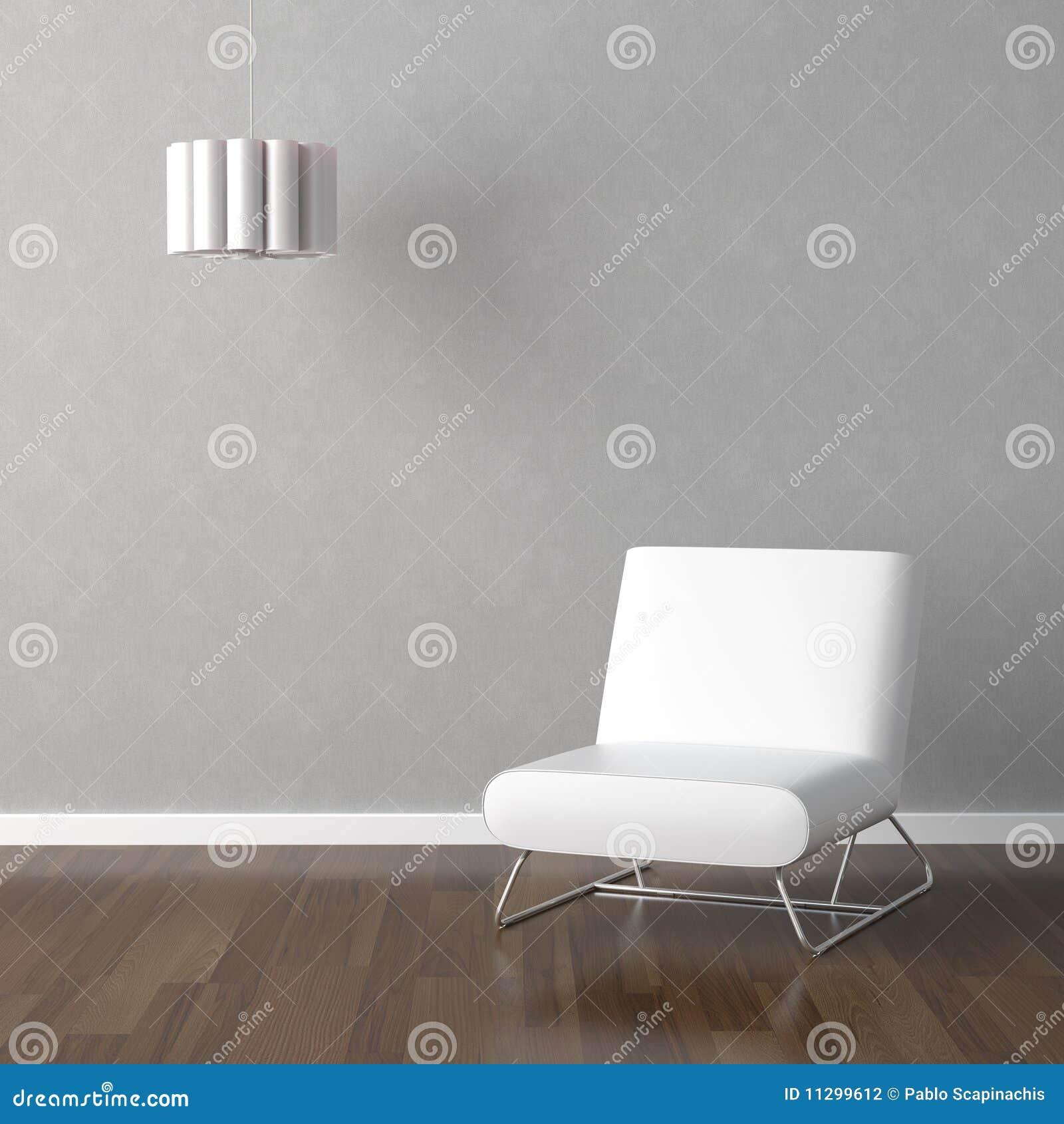 Weißer Stuhl Und Lampe Auf Grau Stock Abbildung Illustration Von
