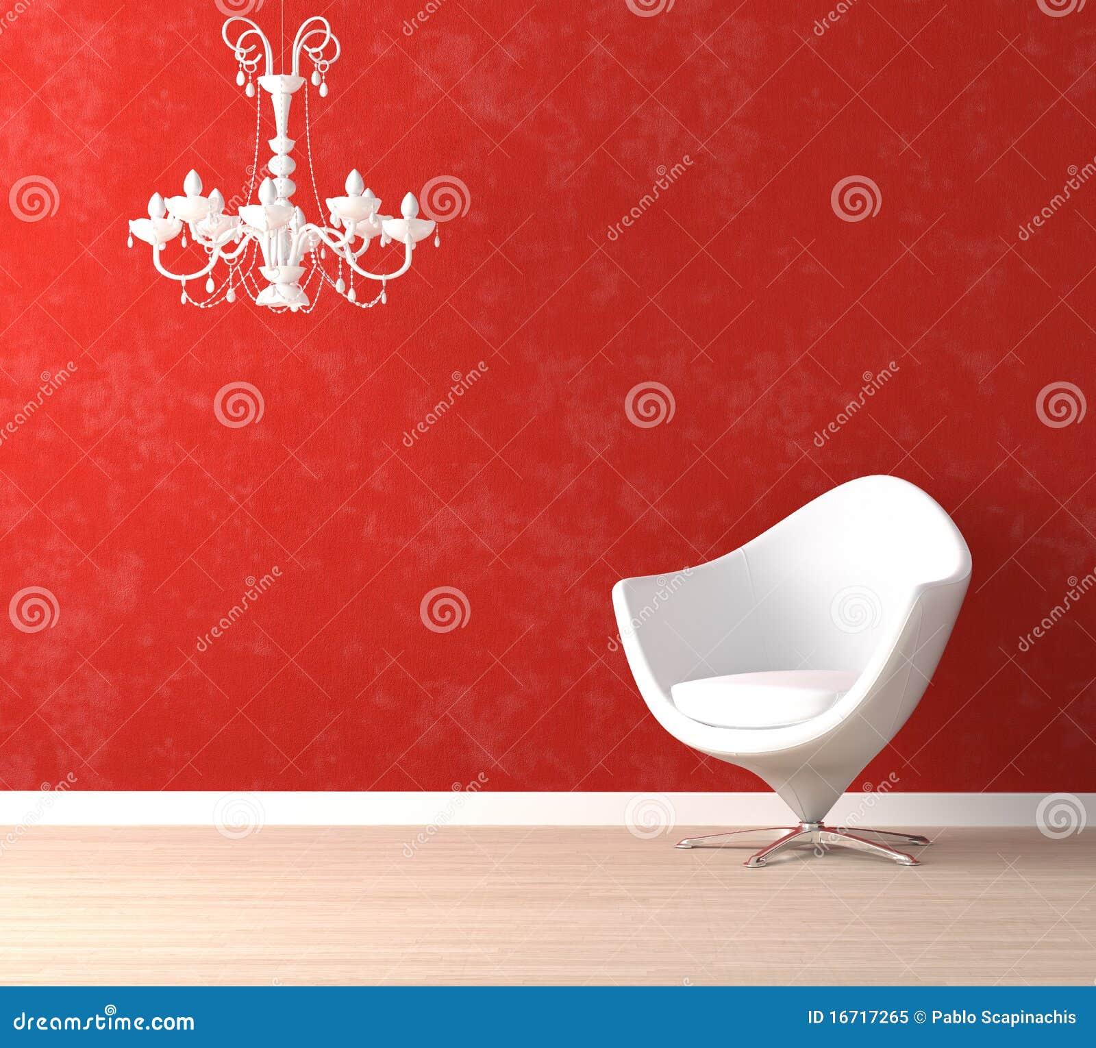Weißer Stuhl Und Lampe Auf Rot Stock Abbildung Illustration Von