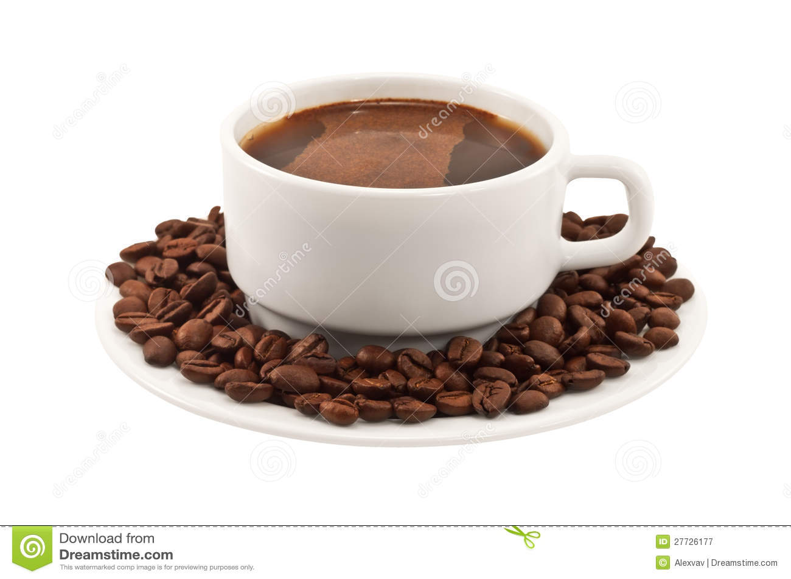 Weißer Tasse Kaffee mit Bohnen auf einer Platte