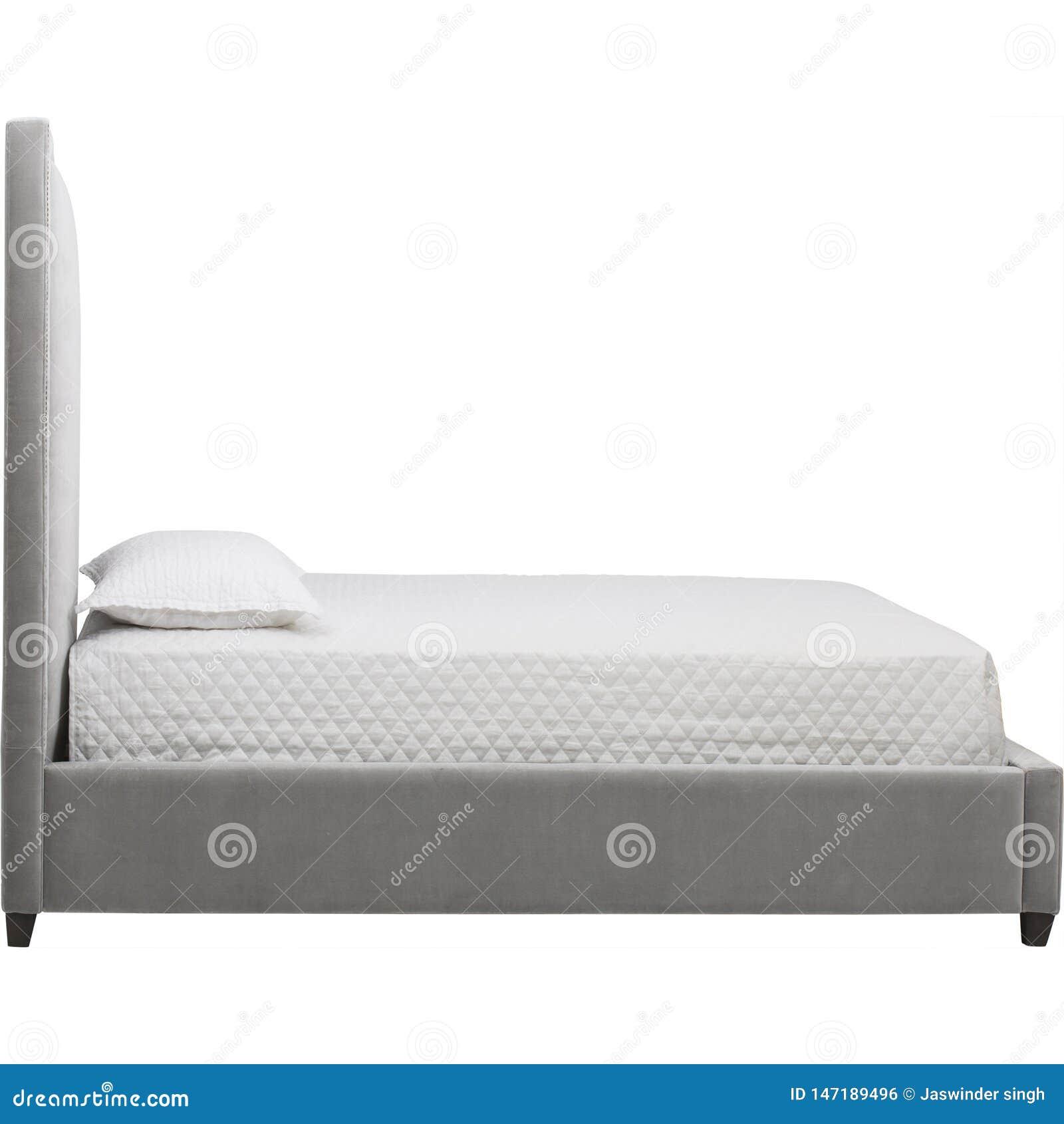 Weißer und grauer moderner Schlafzimmerinnenraum mit einem doppelten Diwanbett