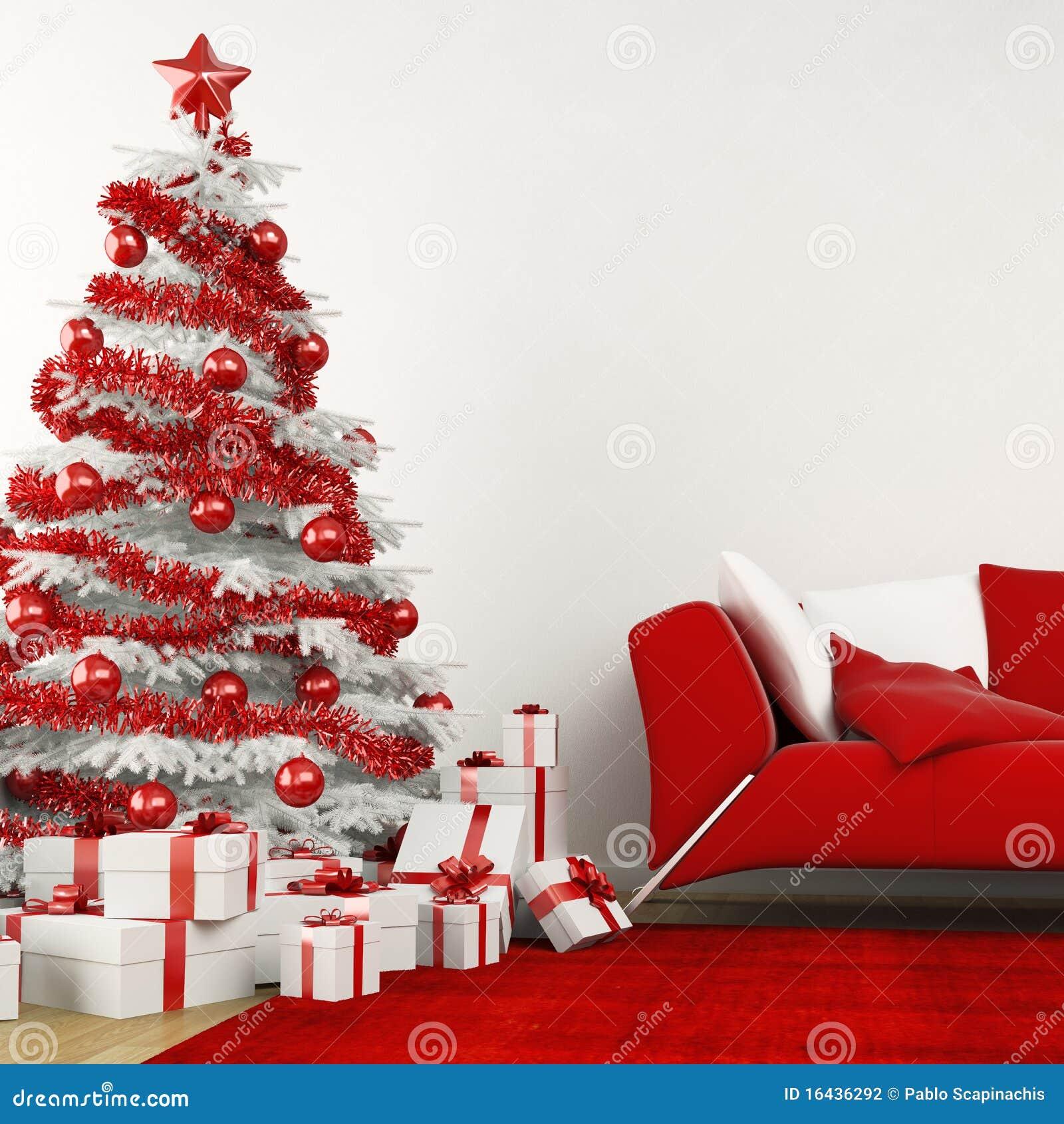 Weißer und roter Weihnachtsbaum